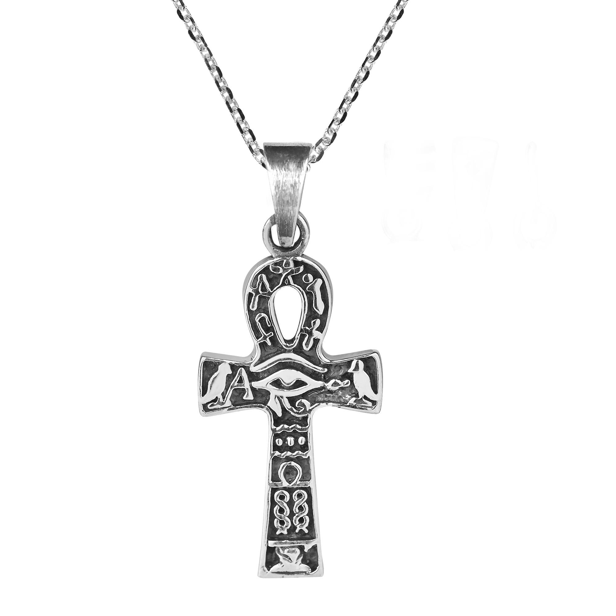 Egyptian Eye Of Horus Ankh Cross Sterling Silver Necklace Aeravida