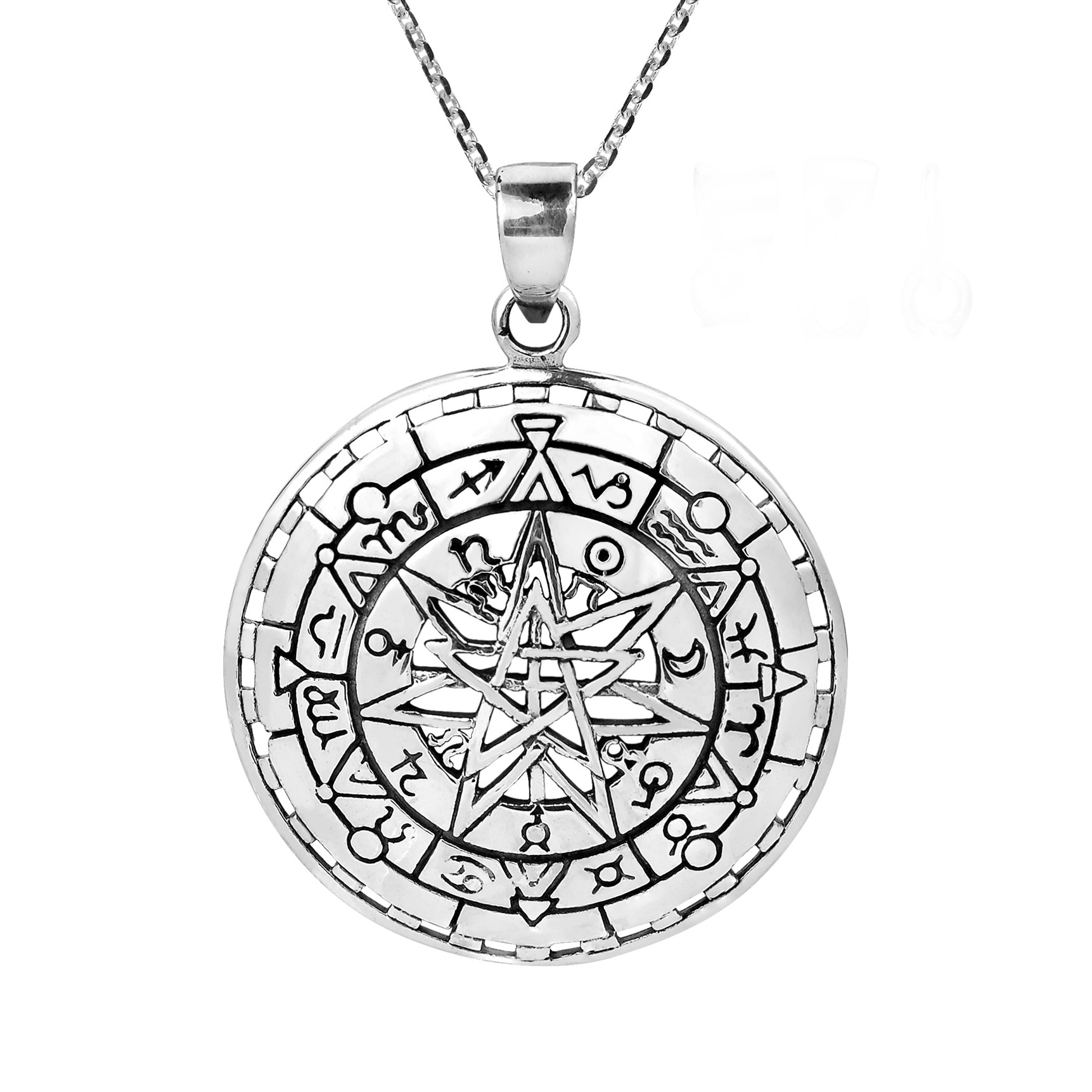 Mystical zodiac compass calendar sterling silver necklace aeravida expertly crafted by hand in the northern thailand workshop of khun o this pendant showcases aloadofball Images