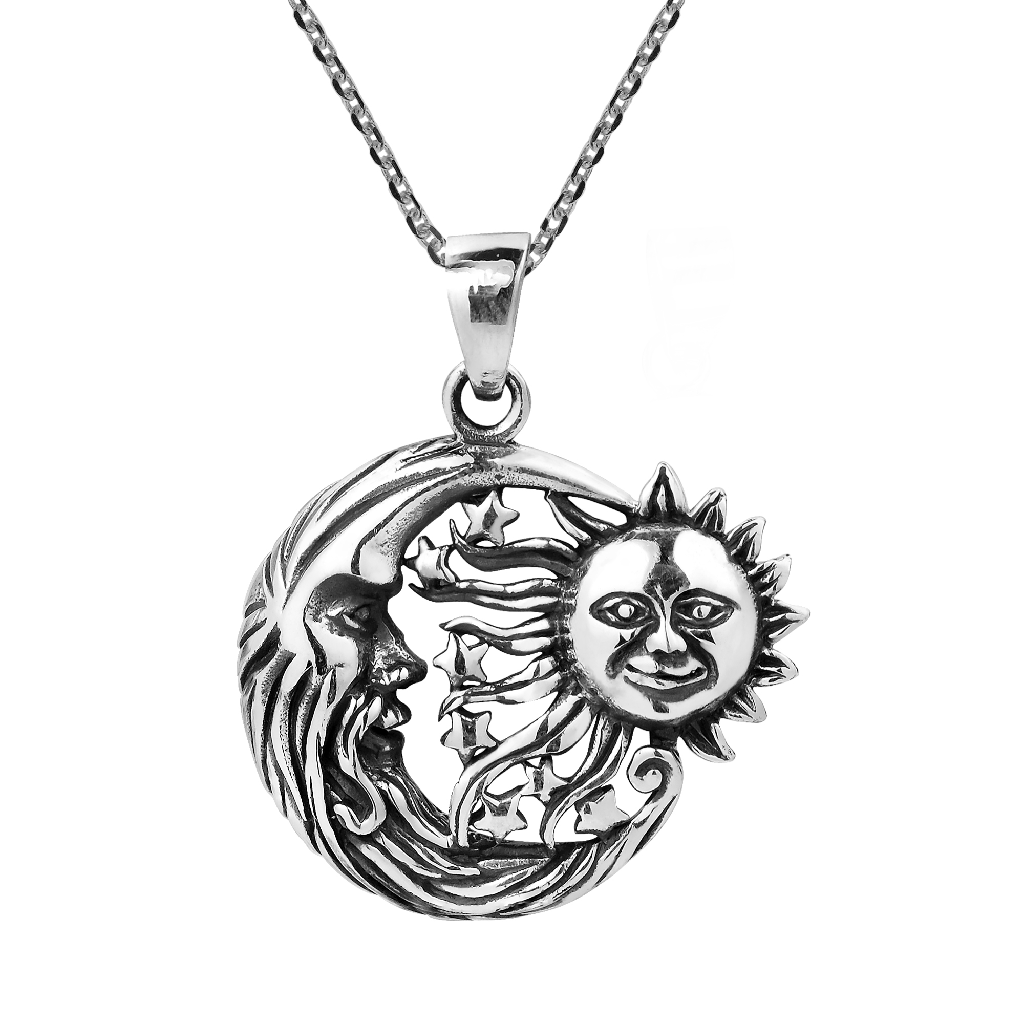 details and celestial necklace beautiful sterling this combine features silversmith o pendant of handmade personified a expert silver the embrace products khun version in aeravida moon s plain star sun pn thailand necklaces by