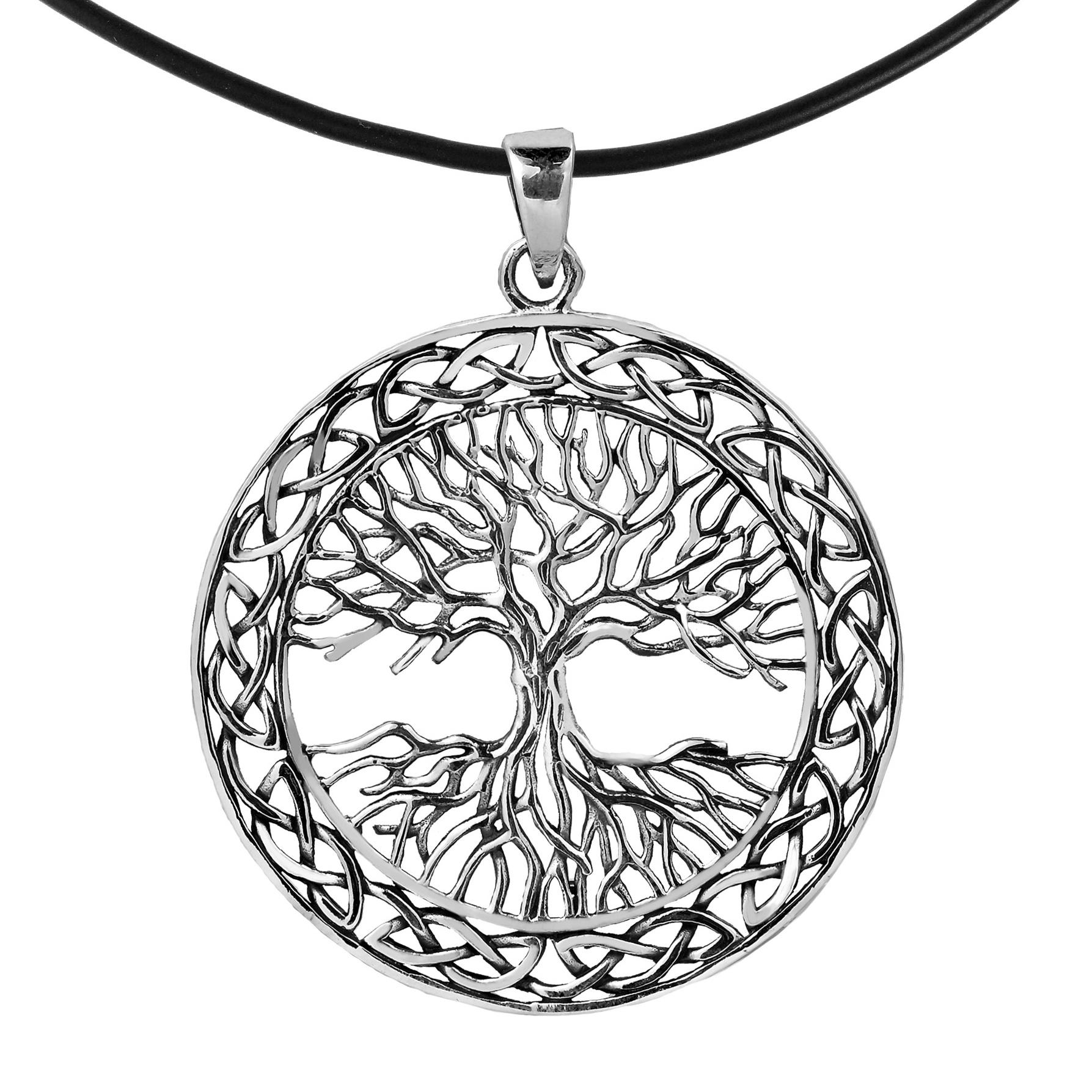 Large 40mm Tree of Life Celtic Frame Sterling Silver Black Necklace ...