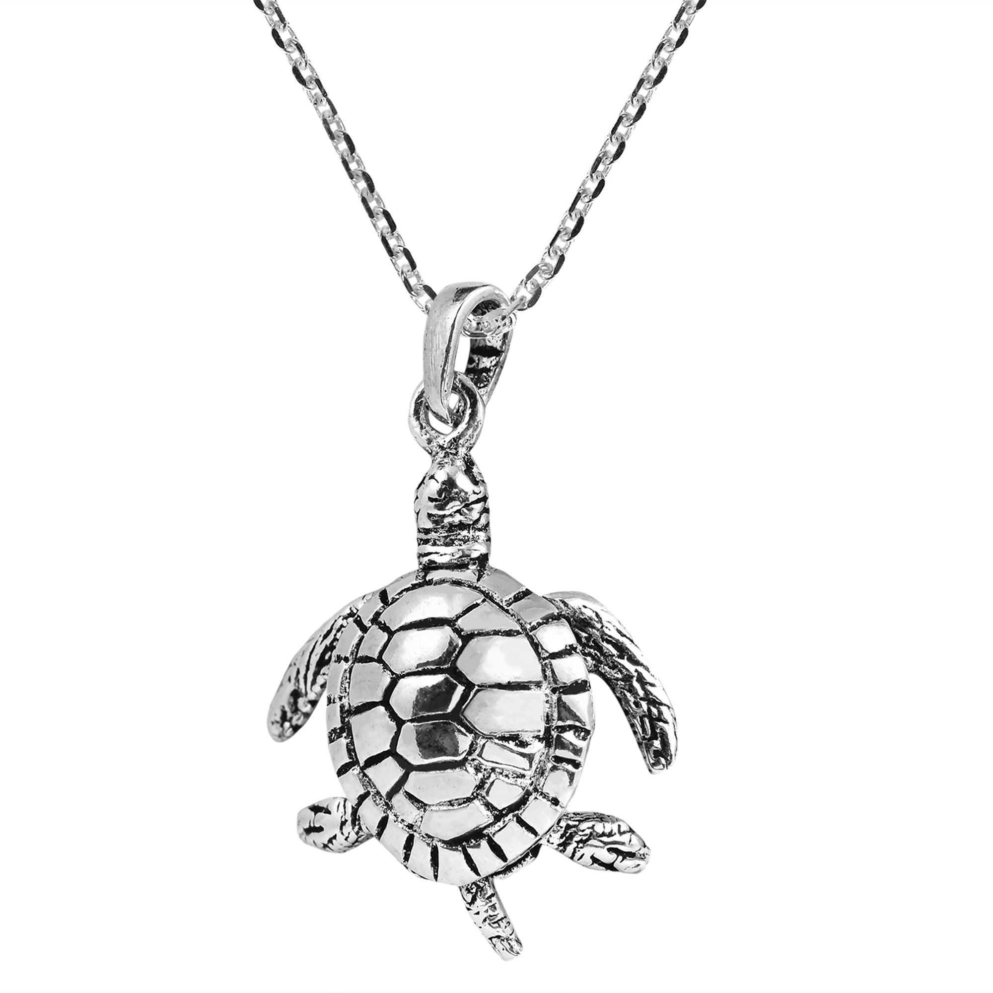 Movable sea turtle swimming sterling silver necklace aeravida with that spirit in mind artisan ploy from thailand handcrafted this adorable sterling silver necklace which features a sea turtle mozeypictures Images