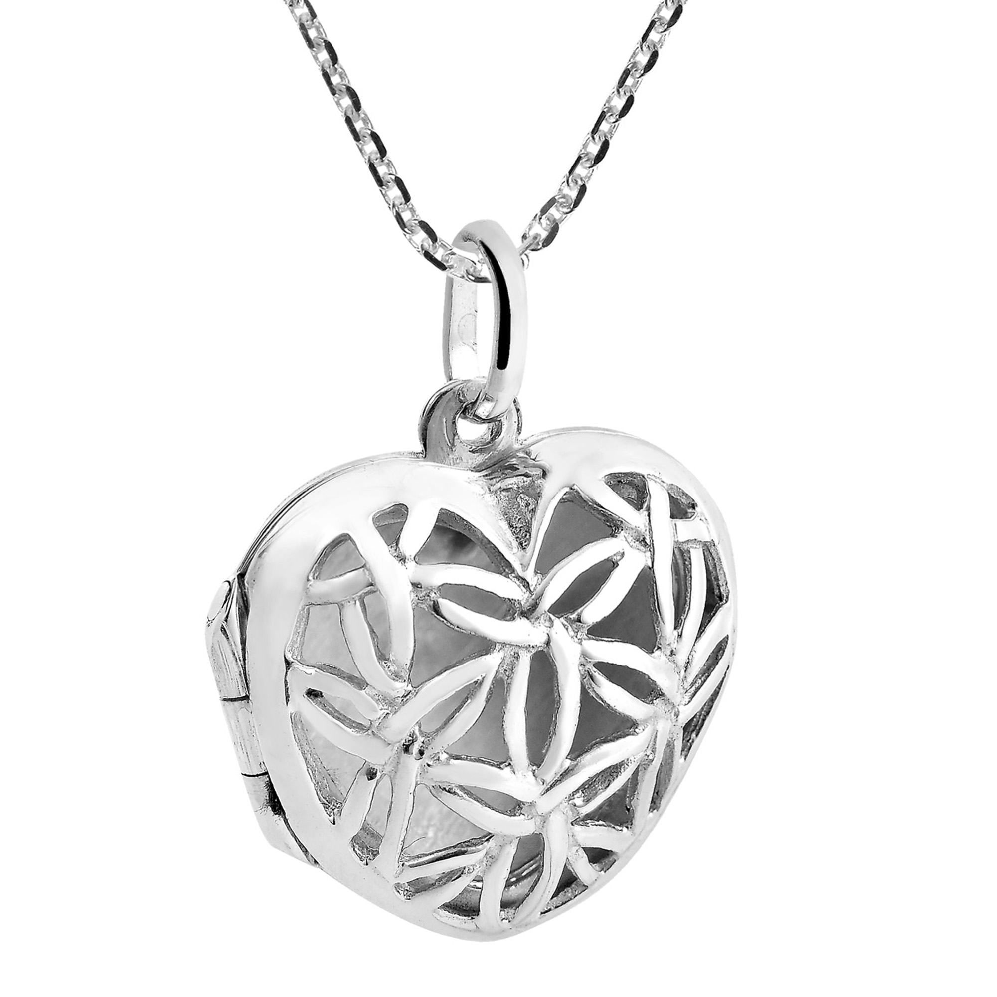 Floral harmony heart locket 925 sterlng silver necklace aeravida this aspects makes the flower of life a symbol of rebirth or new beginnings buycottarizona Choice Image
