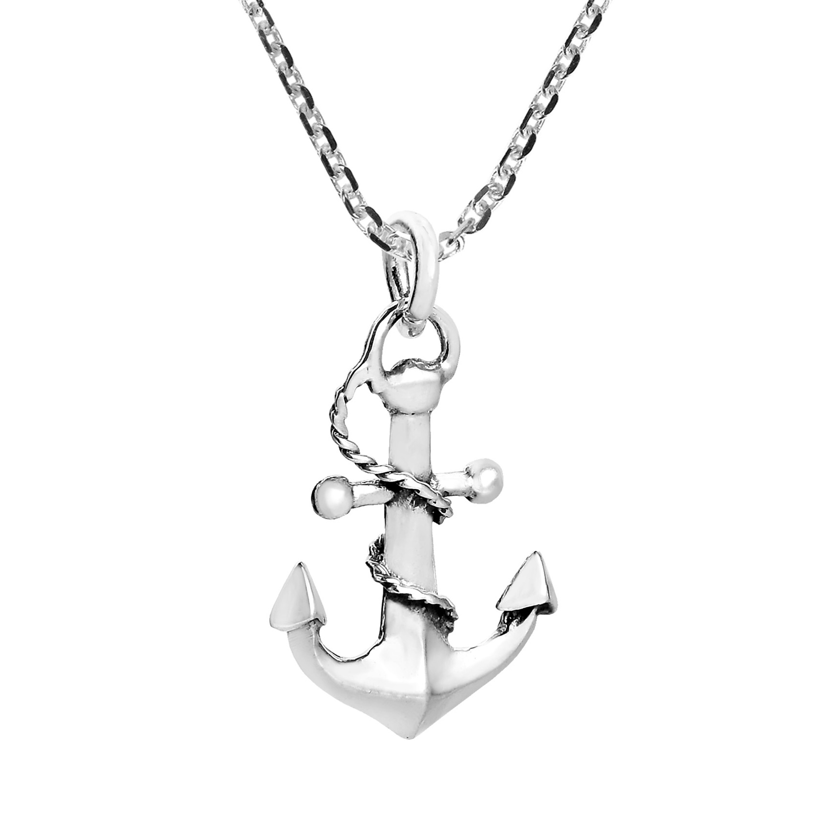 nautical rope and anchor sterling silver necklace aeravida