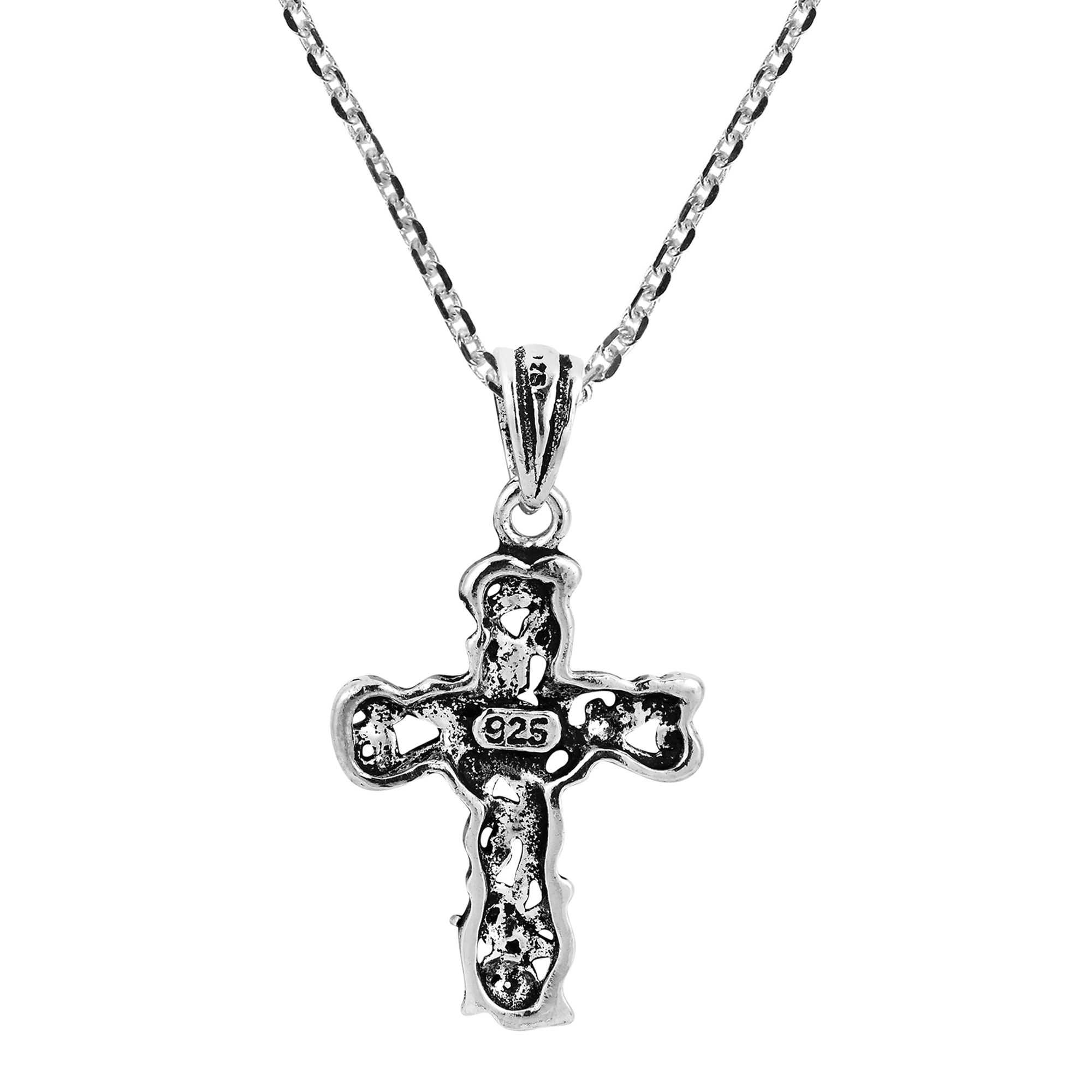Detailed Filigree Swirl Cross Sterling Silver Dangle Necklace