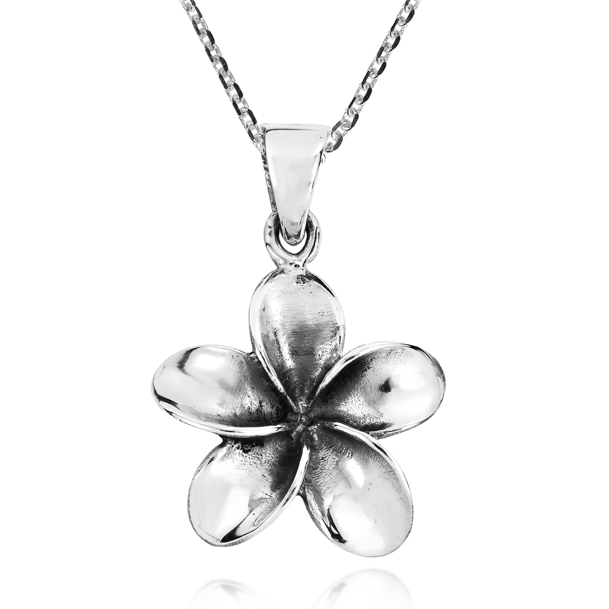 Hawaiian flower necklace silver flowers healthy express your chic and symbolic style with this precious hawaiian plumeria flower pendant which rests upon izmirmasajfo