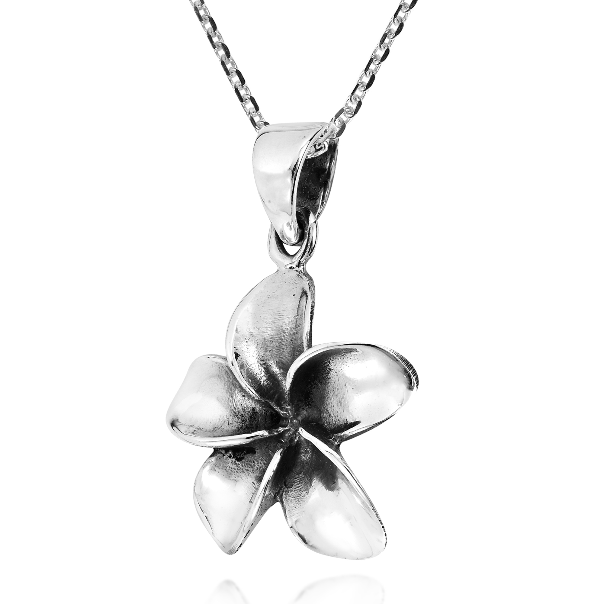 Cute hawaiian plumeria flower sterling silver necklace aeravida express your chic and symbolic style with this precious hawaiian plumeria flower pendant which rests upon an 18 inches sterling silver cable chain with izmirmasajfo