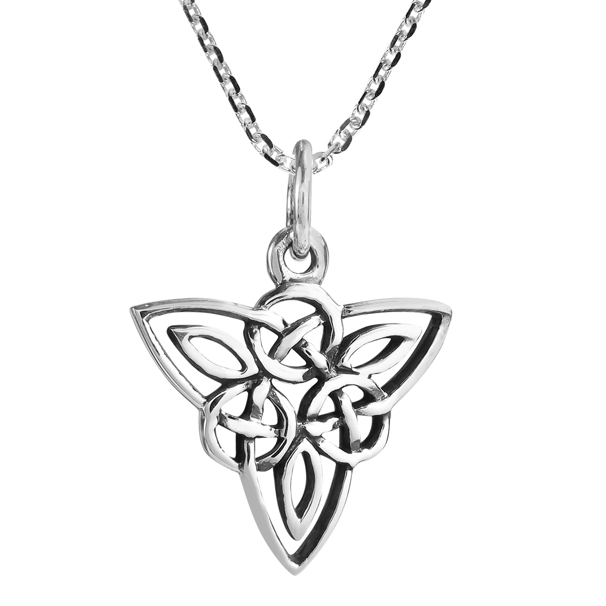 Celtic triquetra knot sterling silver triangle necklace aeravida local aeravida artisan kung from thailand handcrafted this captivating sterling silver celtic triquetra knot necklace this knot symbolizes the celtic biocorpaavc