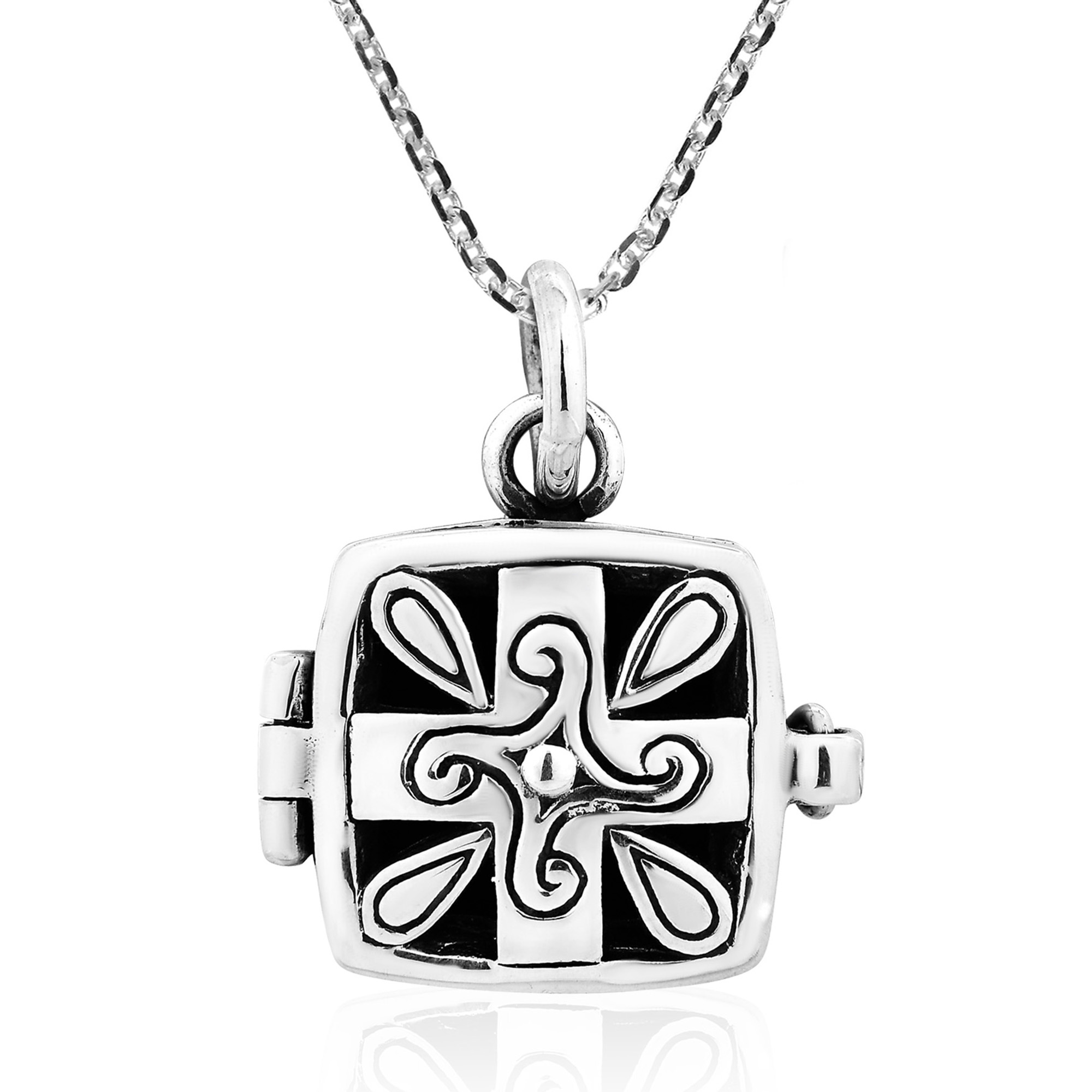 cross orthodox sterling square pendant pearl silver gothic pin
