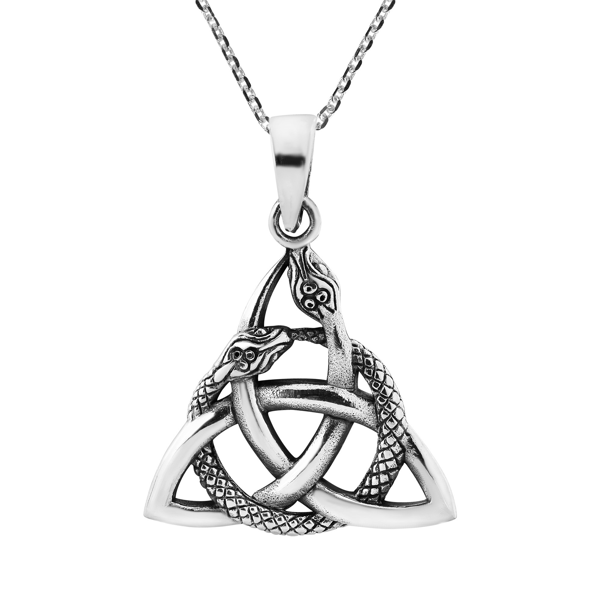 Interwoven Snakes Triquetra Or Trinity Knot Sterling Silver Necklace