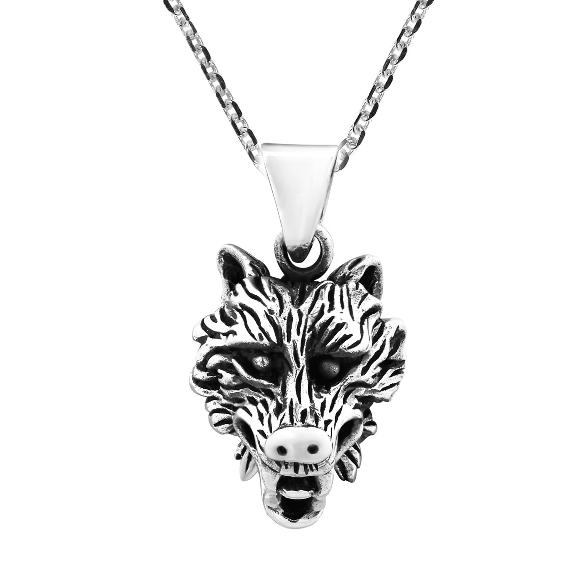 Noble And Fierce Wolf Sterling Silver Chain Necklace Aeravida