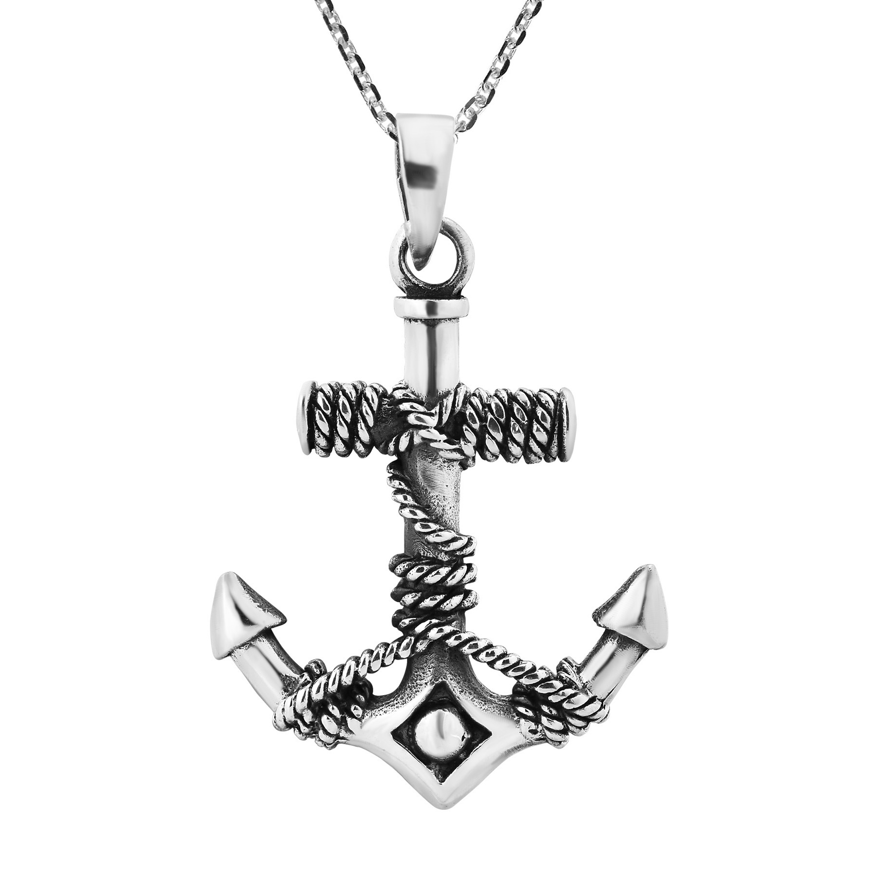 Beautiful Nautical Anchor And Rope Sterling Silver Necklace Aeravida