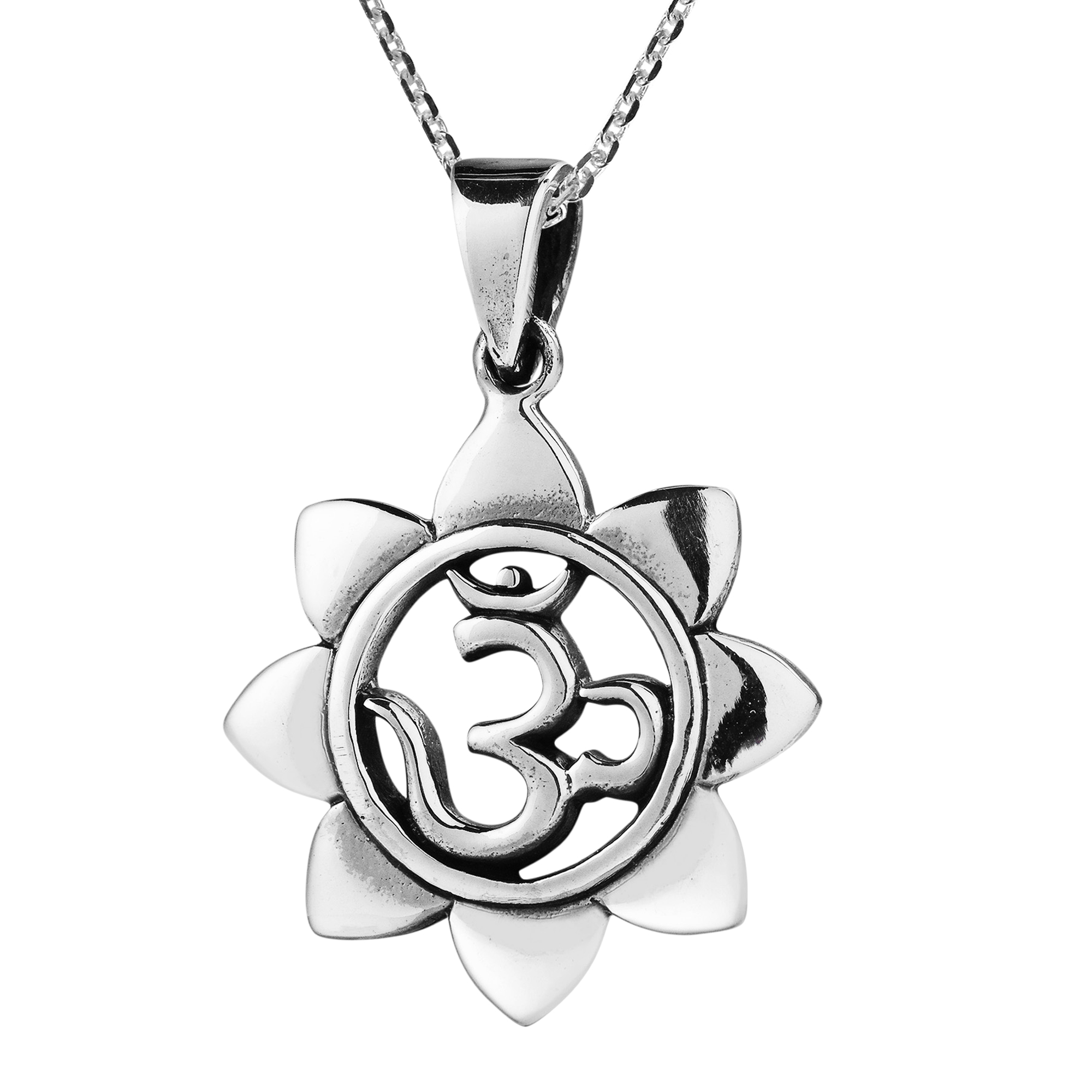 Blooming Lotus Aum Om Center Sterling Silver Necklace Aeravida