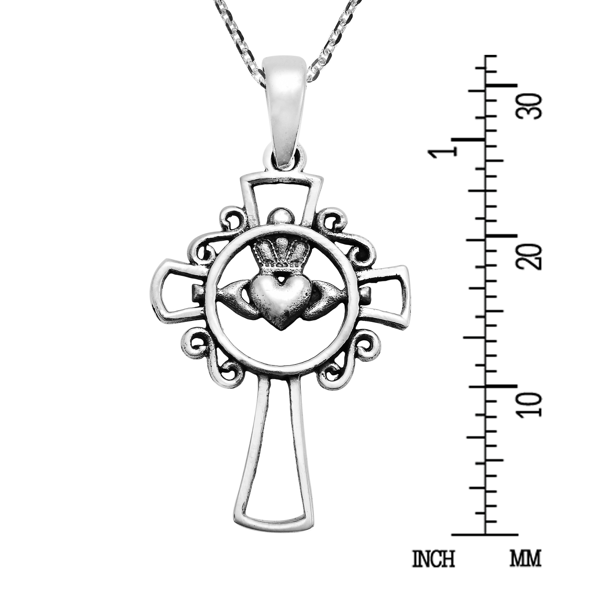 Stylish Claddagh Within A Cross Sterling Silver Necklace Aeravida