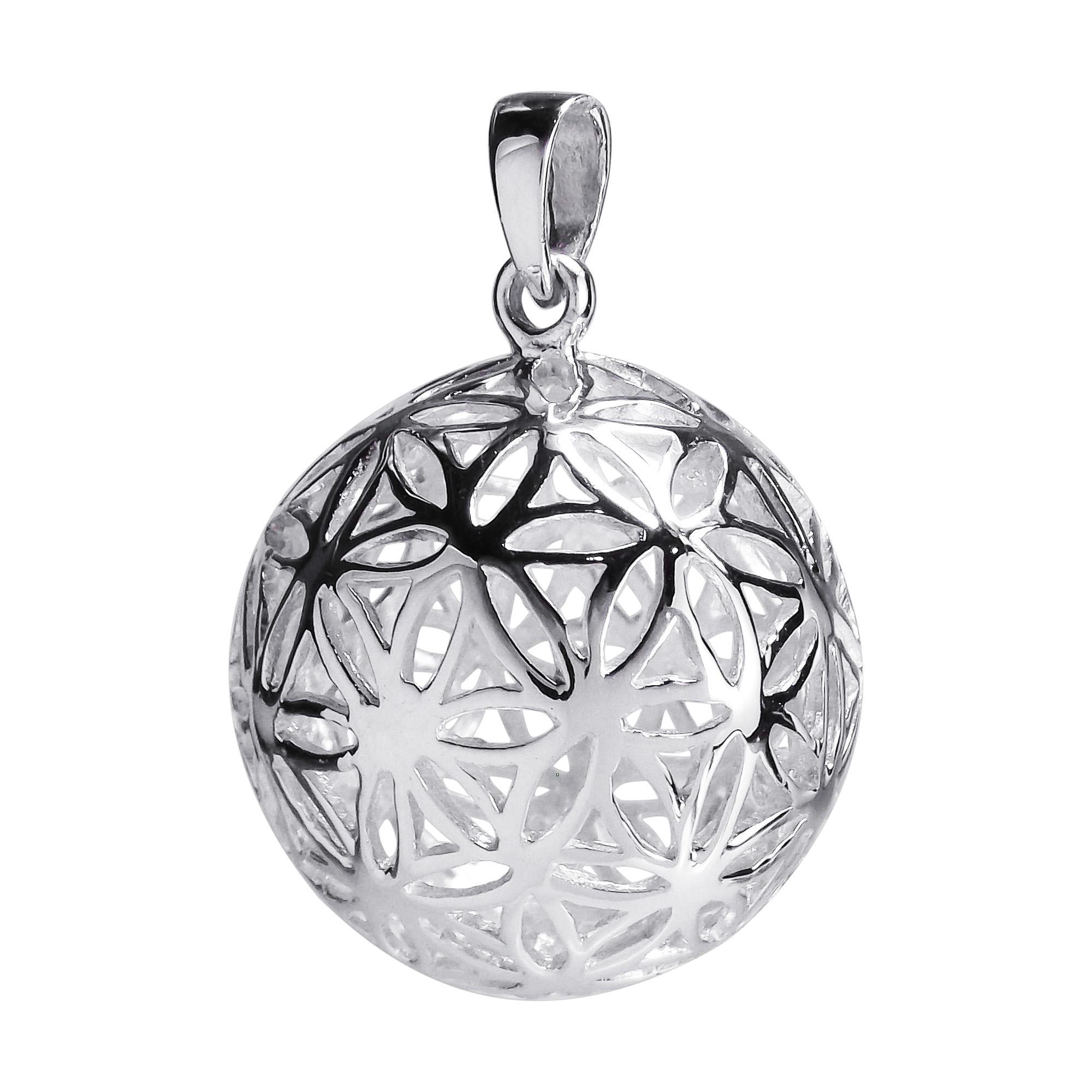 Flower of life kabbalah 3d ball sterling silver pendant aeravida flower of life kabbalah 3d ball sterling silver pendant mozeypictures Gallery