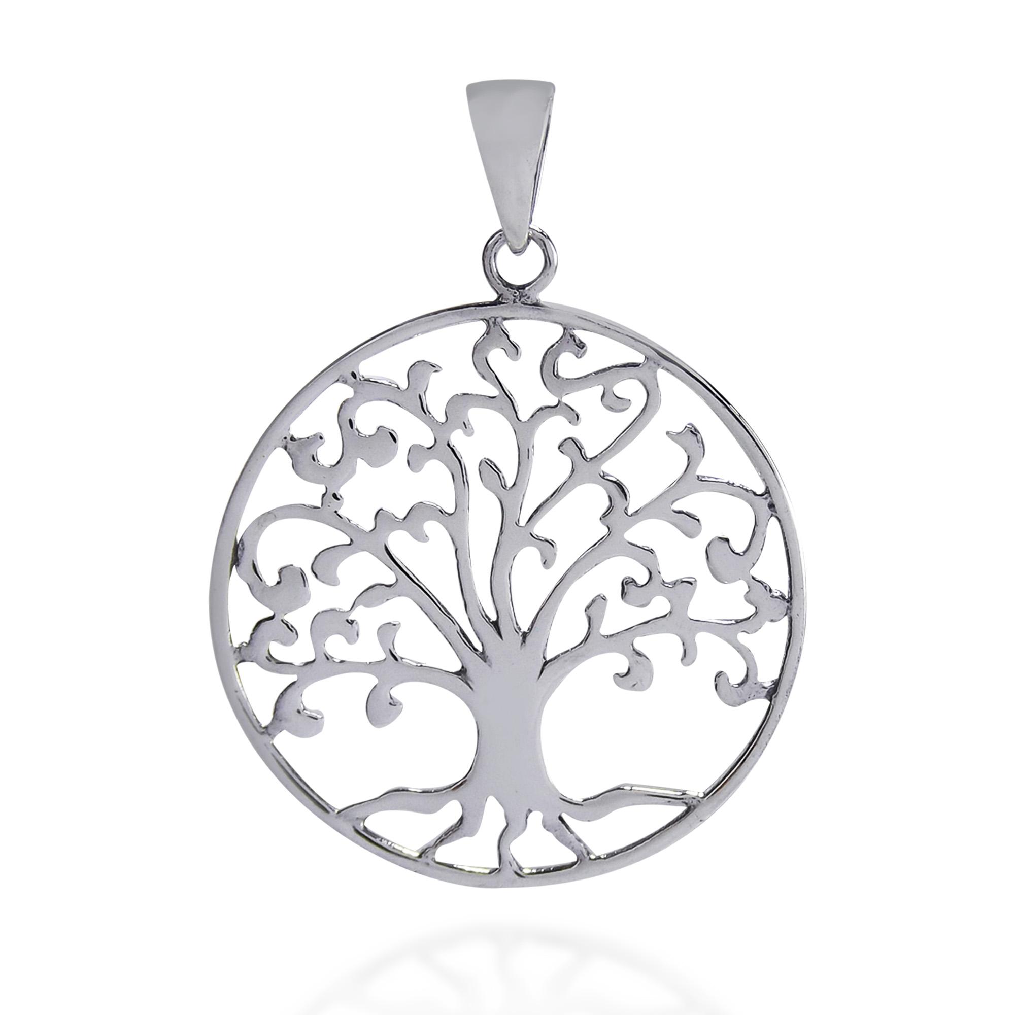 Cosmic Swirl Tree Of Life Symbol Sterling Silver Pendant Aeravida
