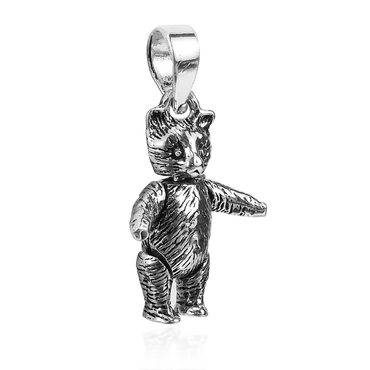 Charming movable teddy bear 925 sterling silver pendant aeravida this amazing teddy bear pendant is hand made with sterling silver and features movable appendages makes a wonderful gift for someone special in your life aloadofball Images