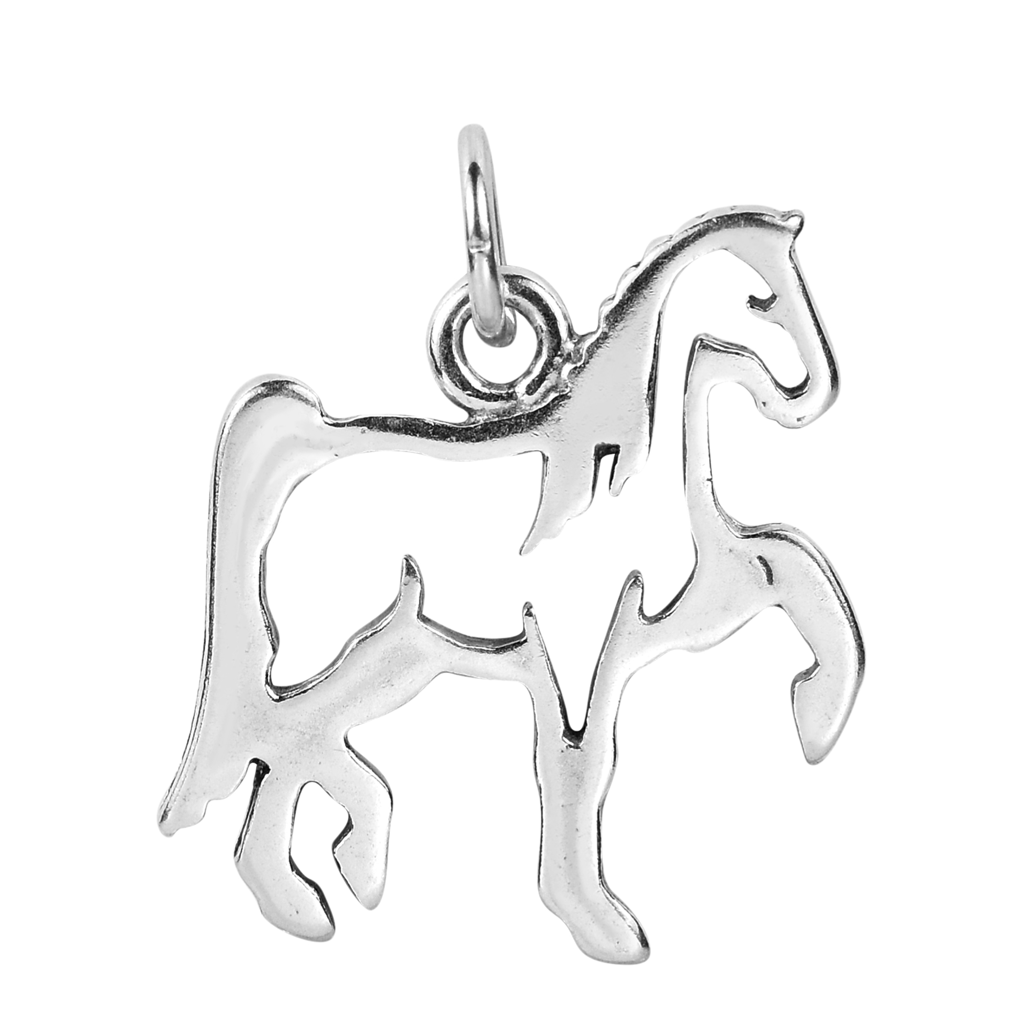 simple majestic horse outline in sterling silver pendant aeravida Chicken Foot this fun and charming pendant features the silhouette of a majestic horse proudly standing with one foot in the air expertly handcrafted from sterling