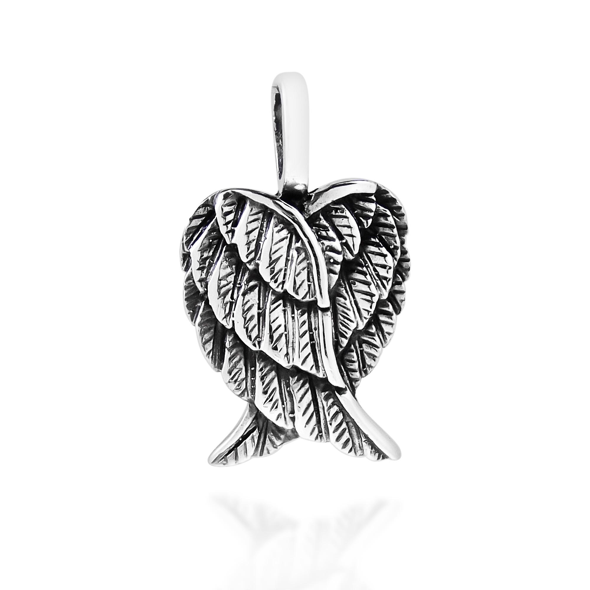 Delightful Petite Heart Shaped Angel Wings Sterling Silver