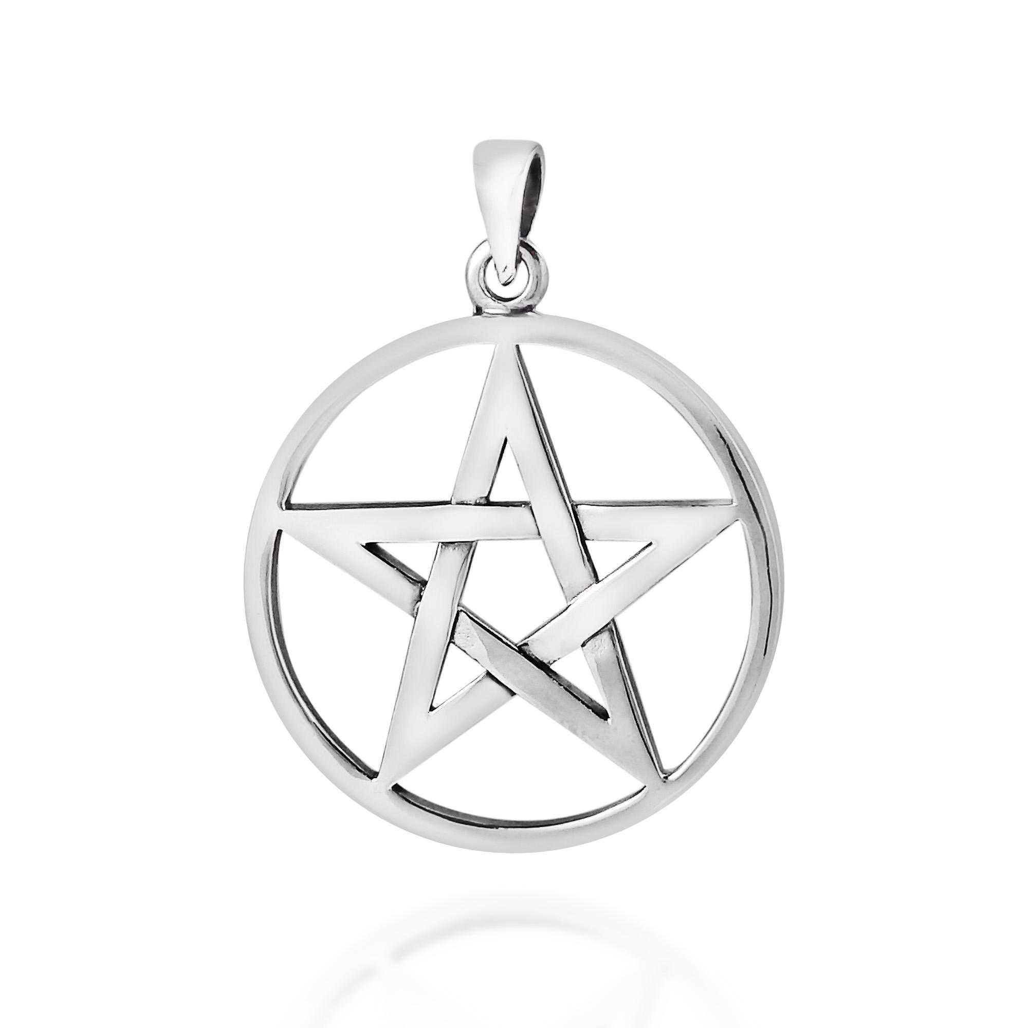 Ancient Mystical Star Pentagram Sterling Silver Pendant Aeravida