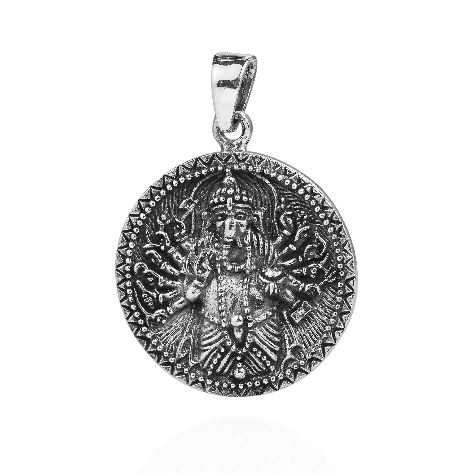 Unique Ganesha Aum Om Symbol Double Sided Sterling Silver Pendant