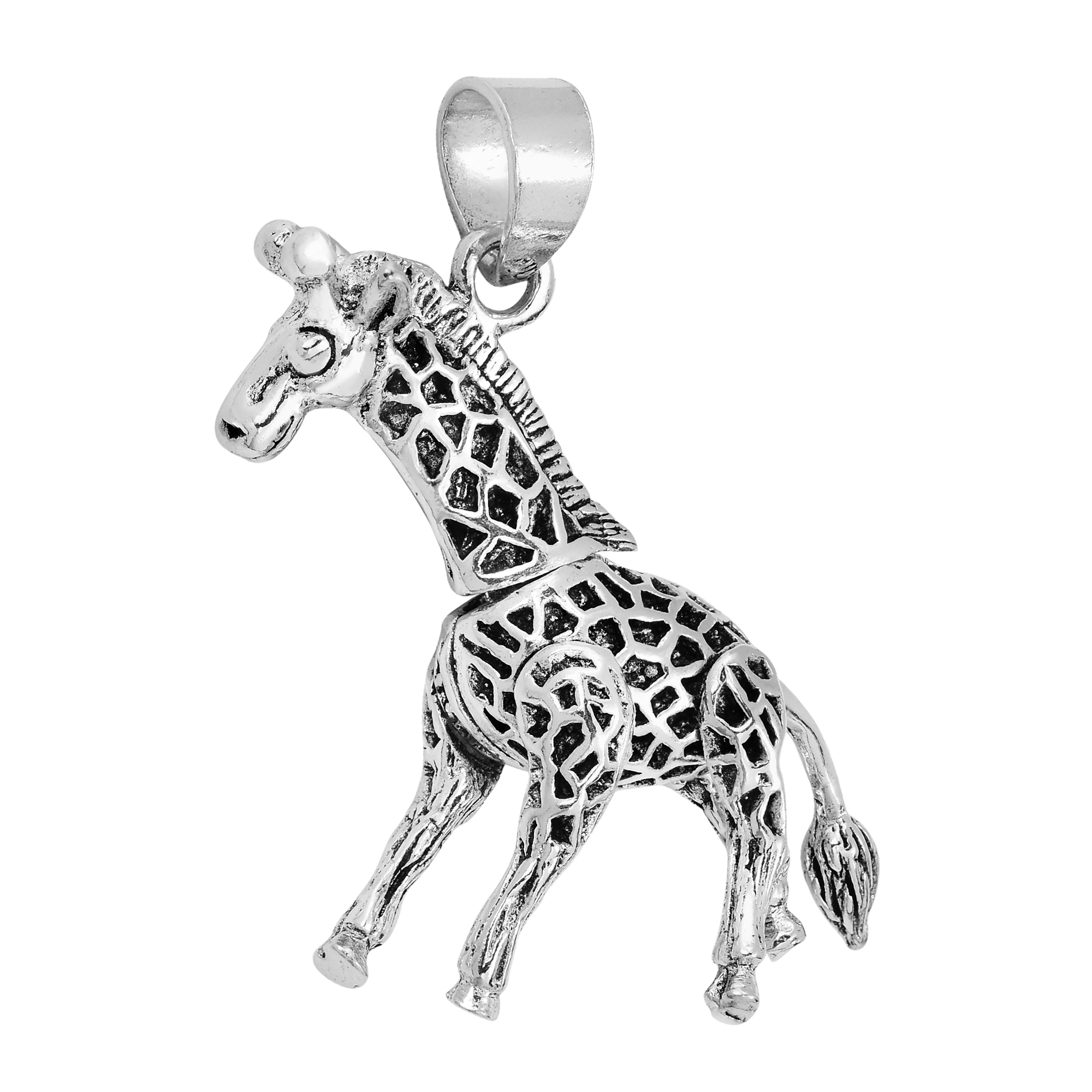 features fashioned its legs move plain tail animal details style pp unique this sterling from designed intricately neck silver aeravida and pendant pendants the giraffe can products parts movable