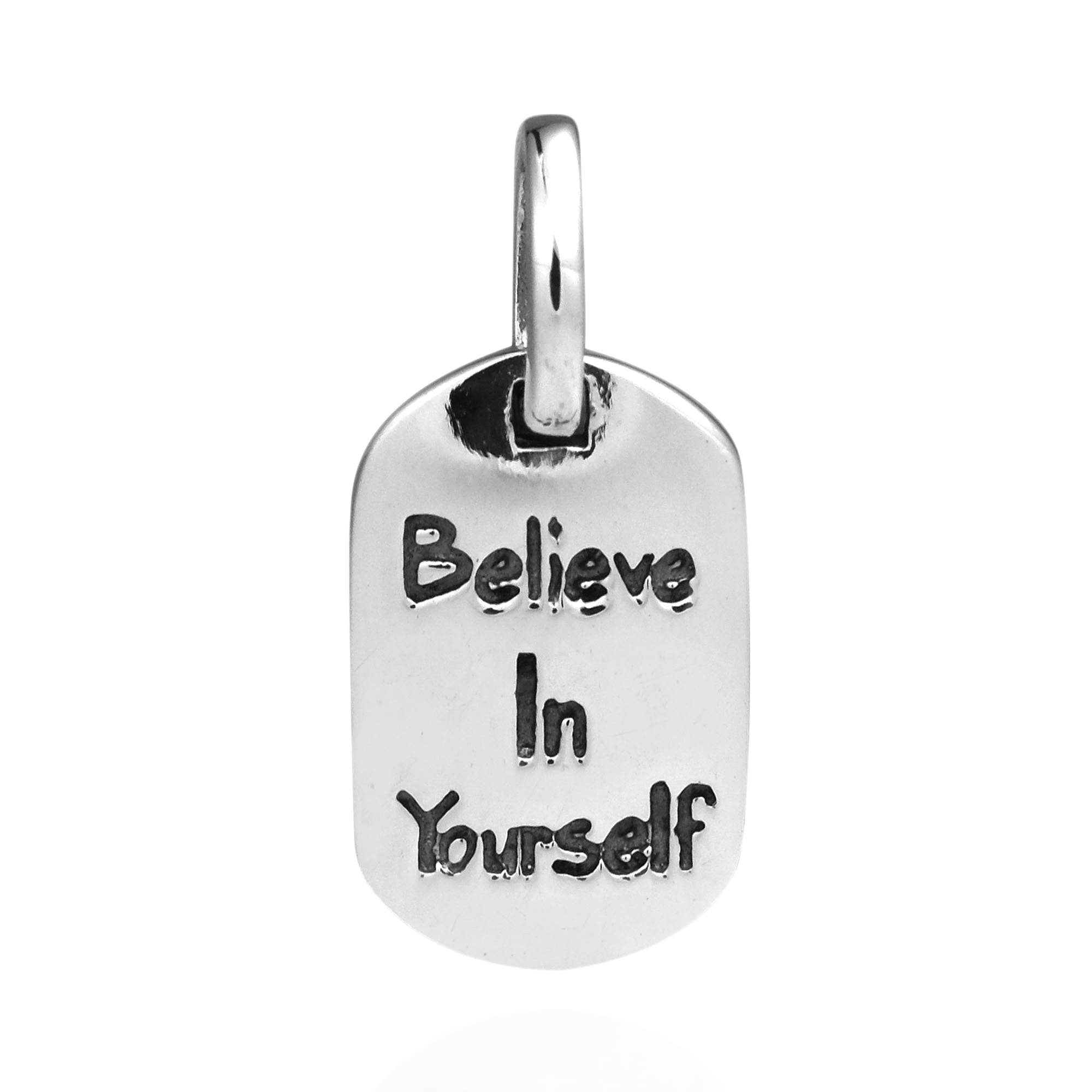 Believe in yourself message tag 925 silver pendant aeravida inspirational believe in yourself message pendant handcrafted by artisans with genuine sterling silver this lovely pendant will compliment any outfit or solutioingenieria Image collections