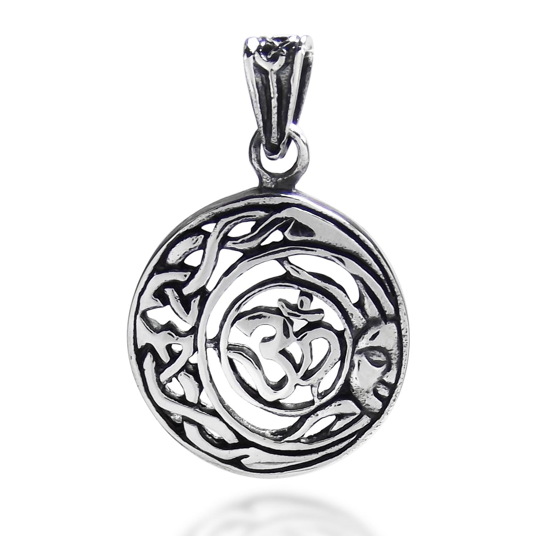 Divine Peace Sun Celtic Om Sterling Silver Pendant Aeravida