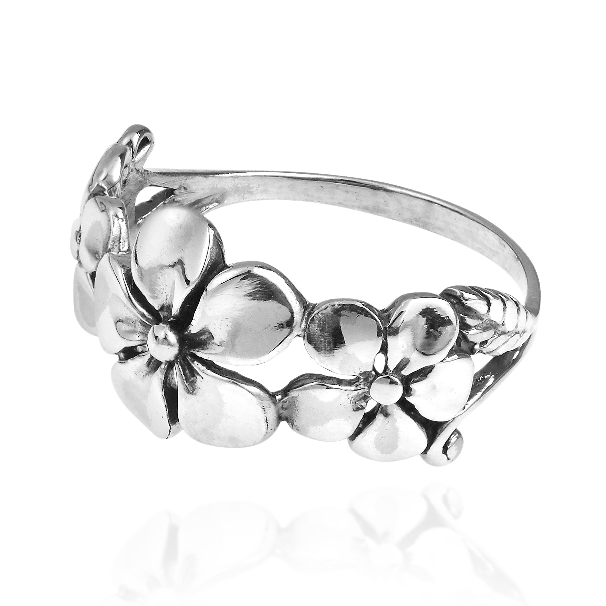Hawaiian style triple flower 925 silver ring 5 aeravida sweet yet classic design crafted from thailand this ring features hawaiian flowers made of sterling silver izmirmasajfo