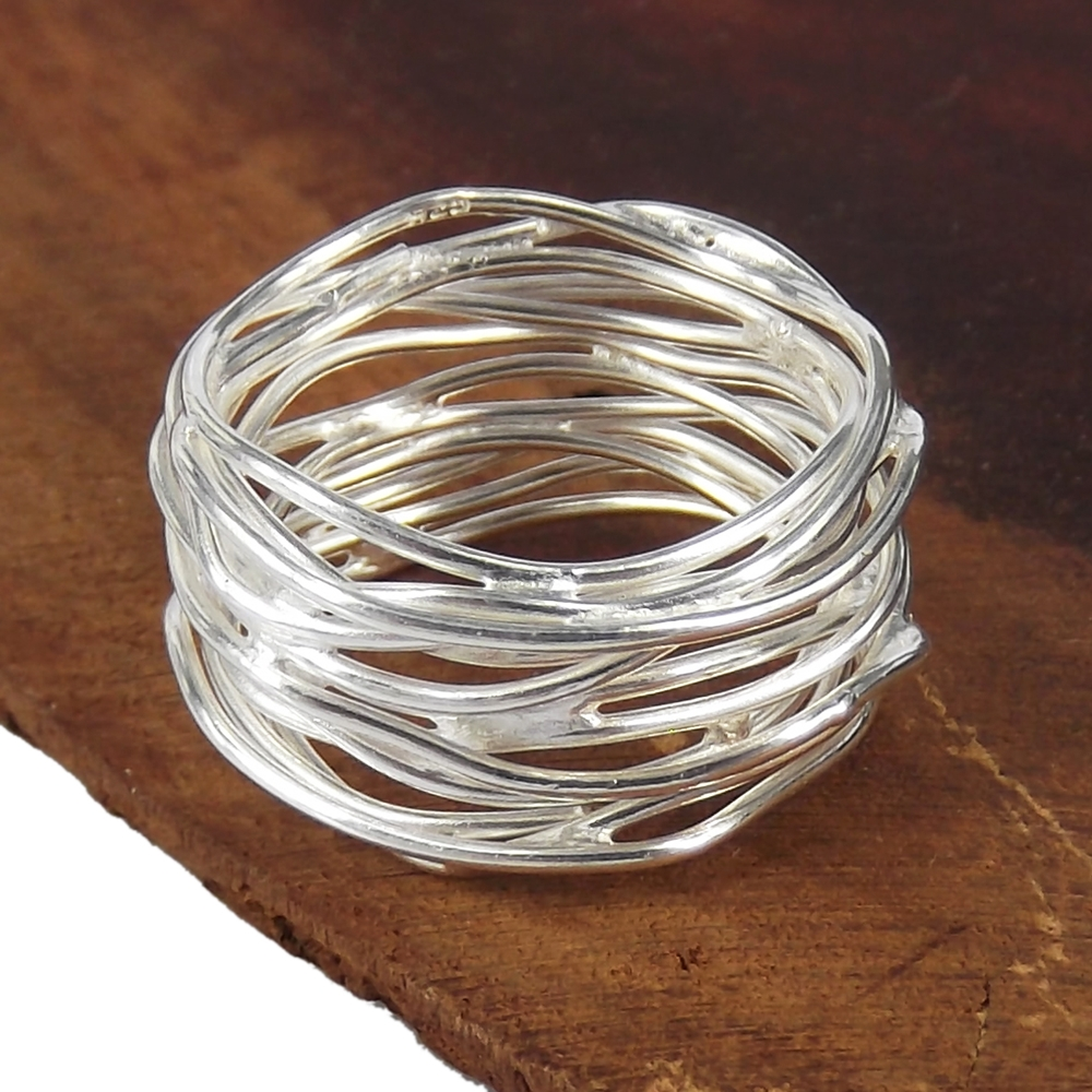 Wire Bands: Modern Wavy Wire Mesh Band .925 Silver Ring 4