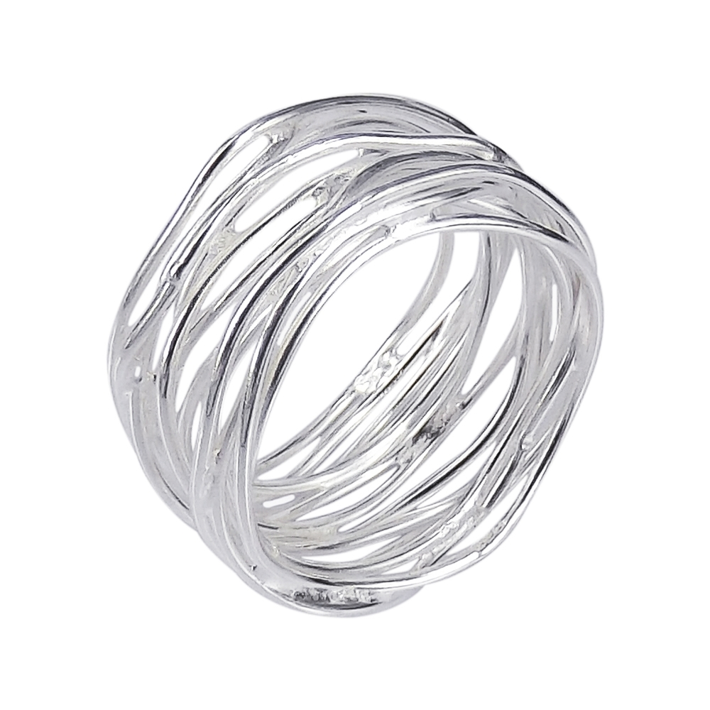modern wavy wire mesh band 925 silver ring 6 ebay