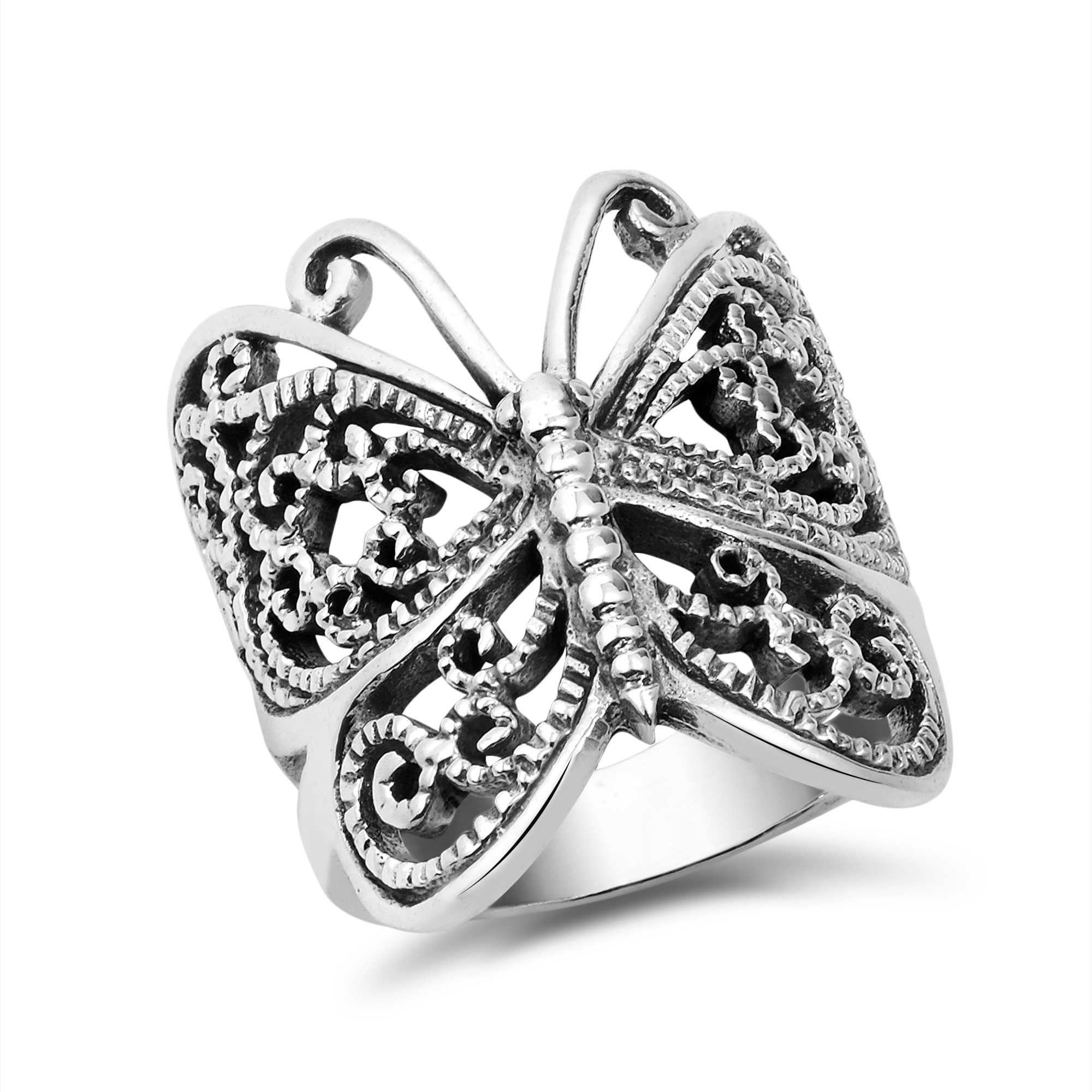 big trendy wrap around butterfly 925 silver ring 5 aeravida