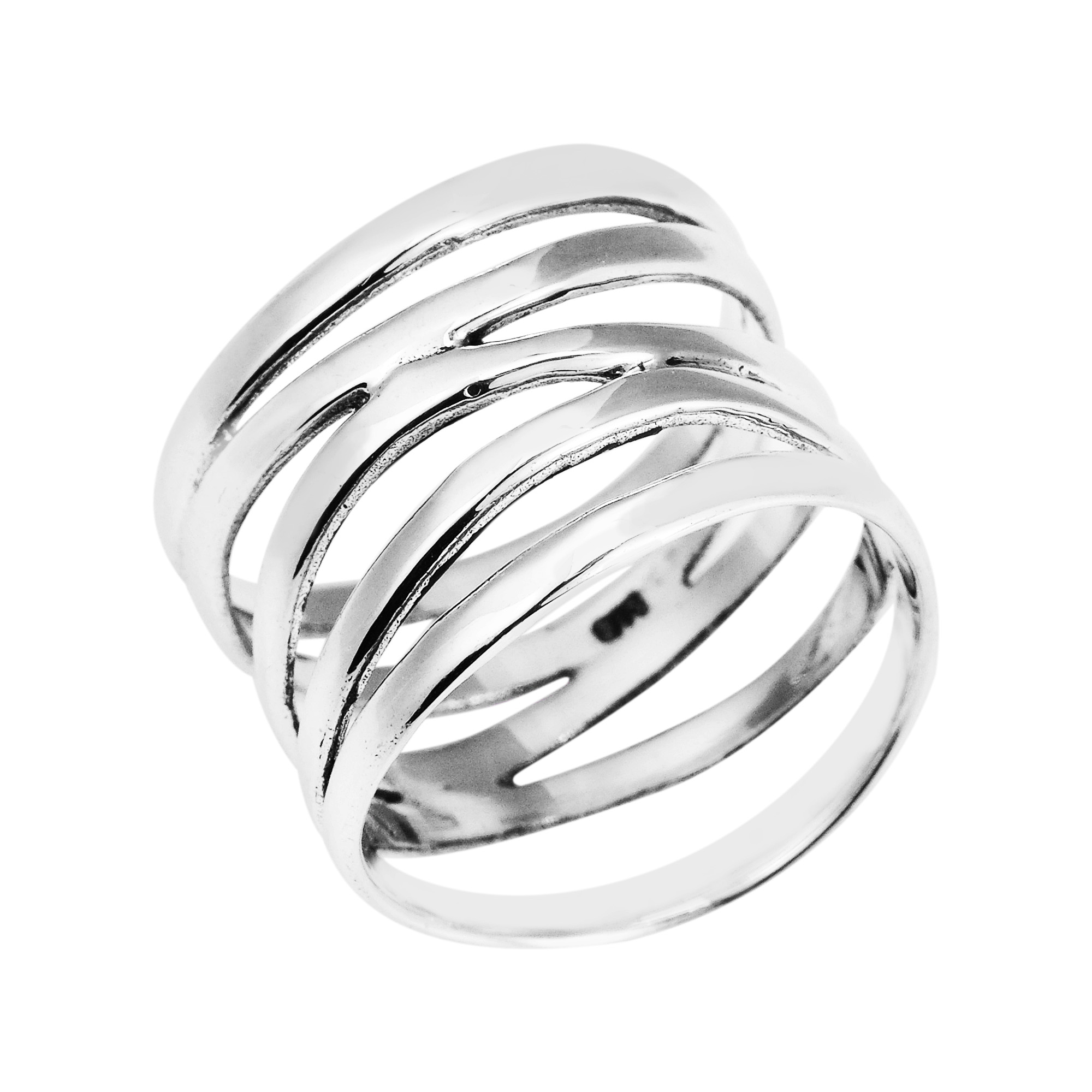 wide five band coil wrap sterling silver ring 6 ebay