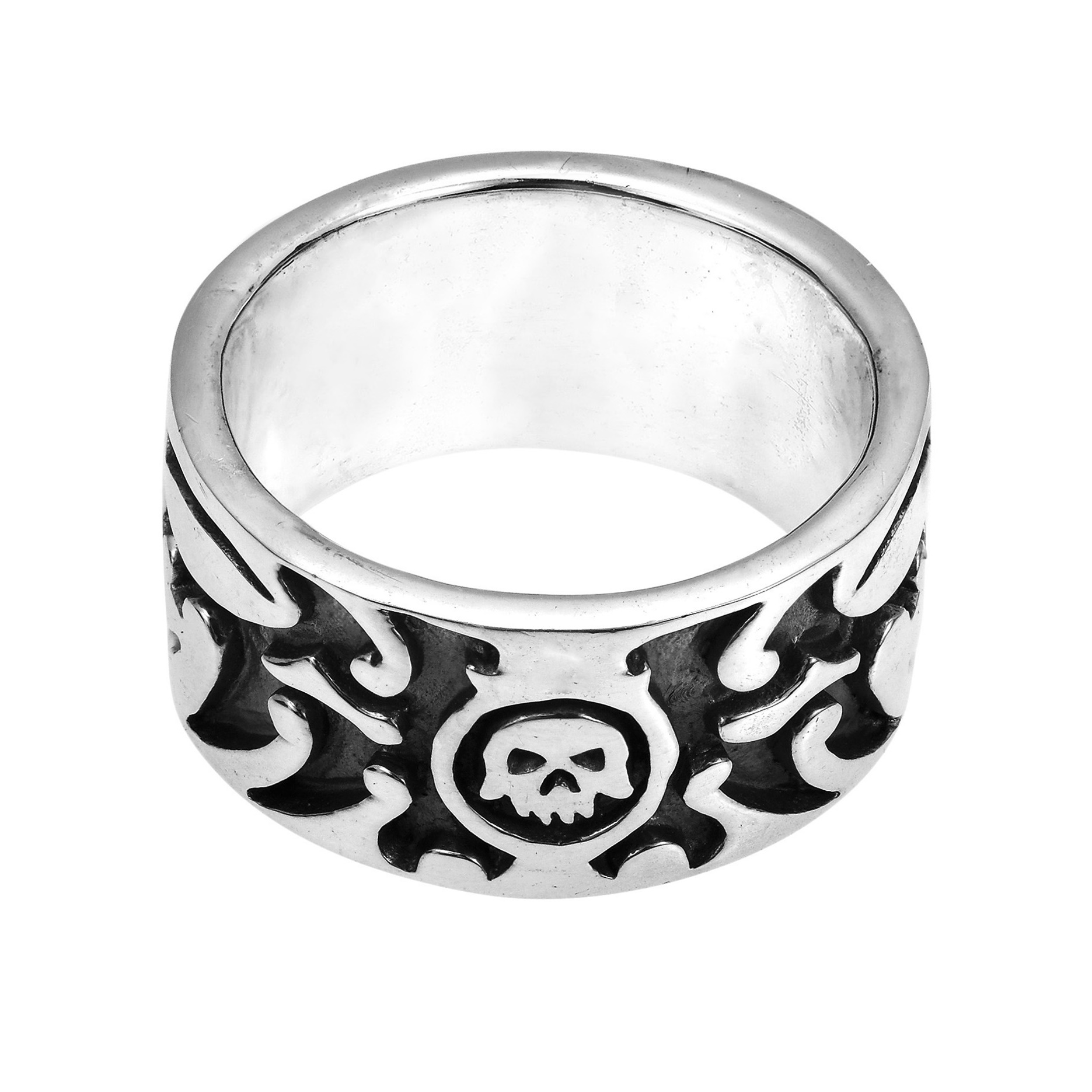 unique skull band 925 silver ring 14 ebay