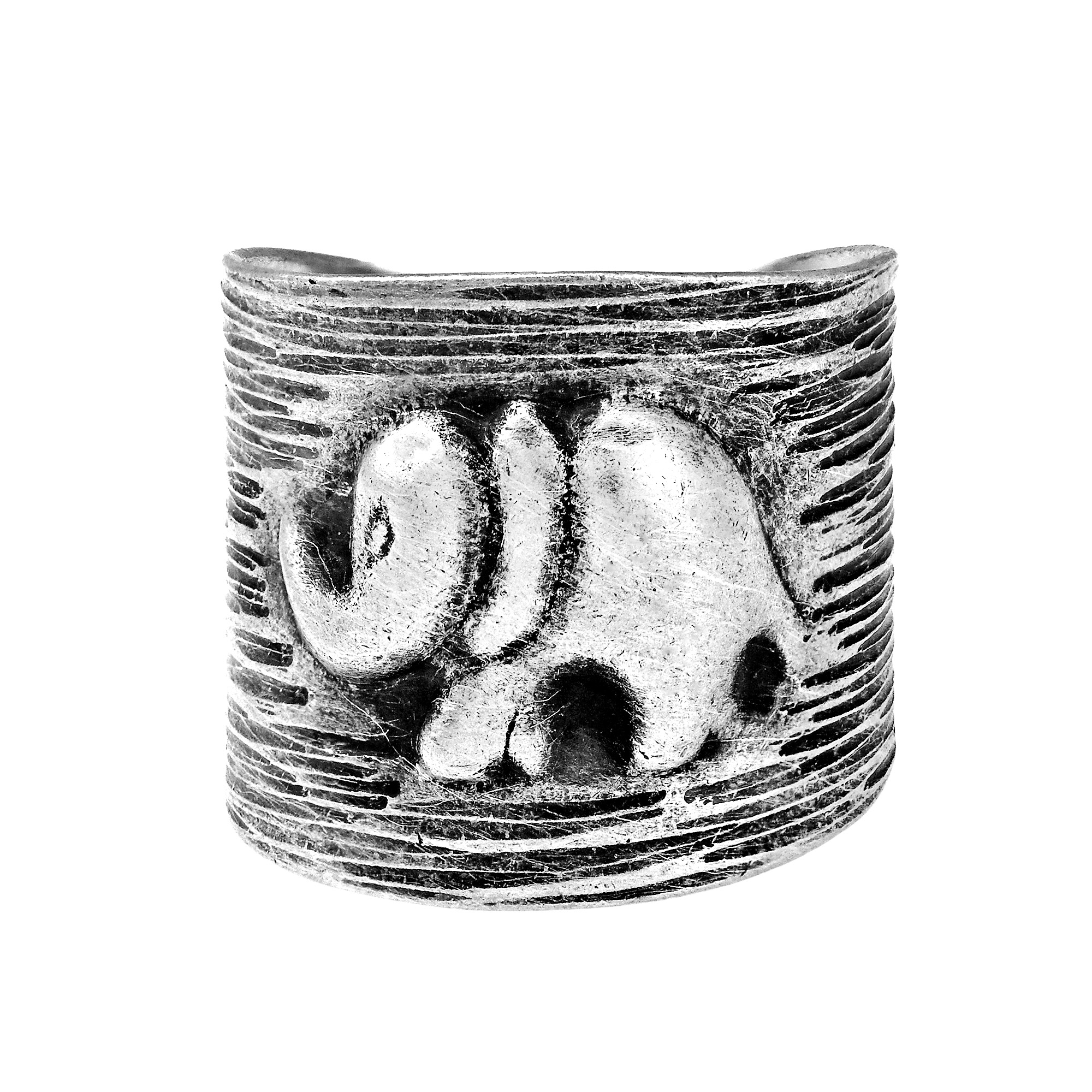 Hematite jewelry - Hand Crafted Silver Wrap Ring with Elephant Motif