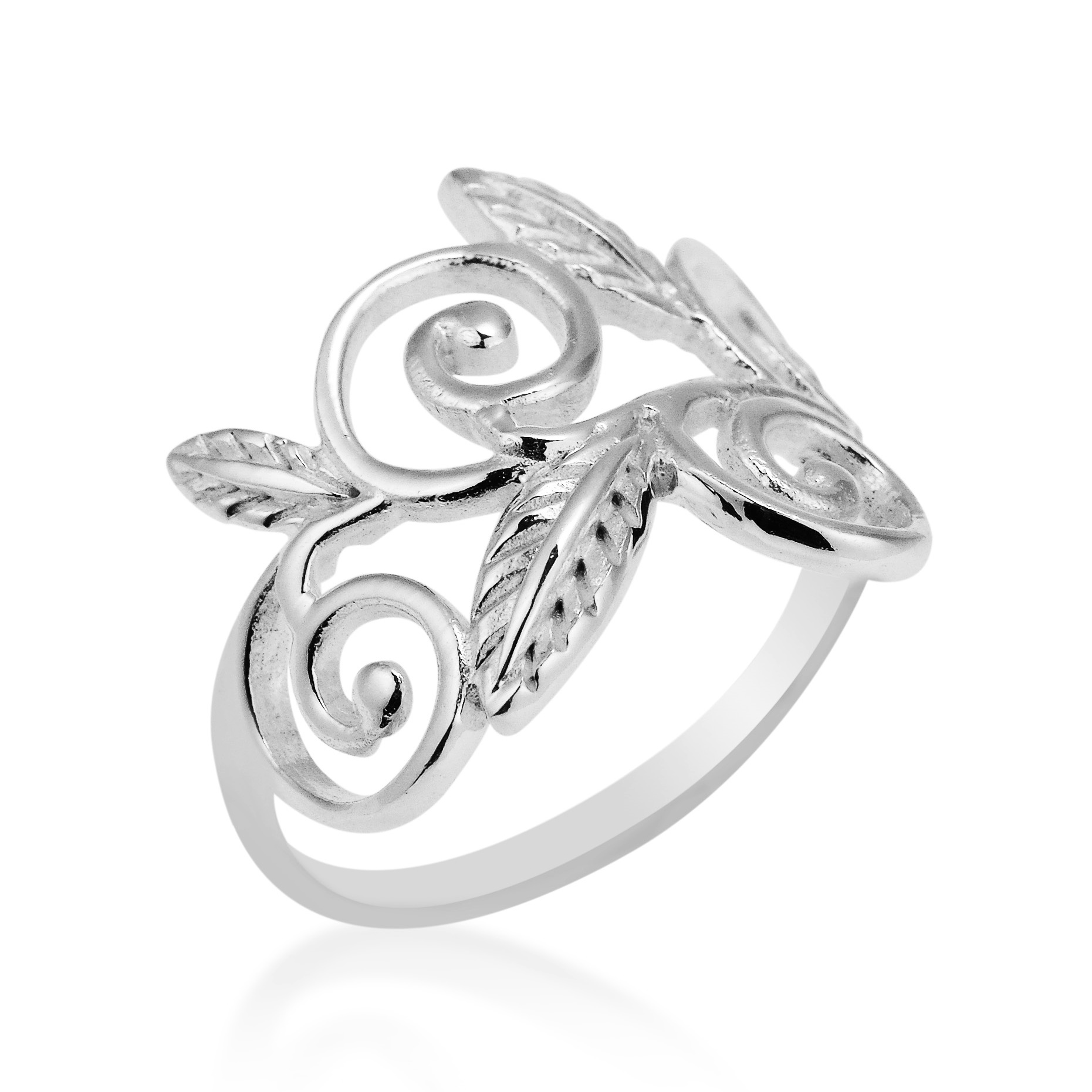 exotic vines swirling leaf 925 sterling silver ring 6 aeravida Fig Leaf Ring artisan pikun from thailand designed this exotic ring graceful floral vines form the focal point of this design this ring is a perfect addition to your