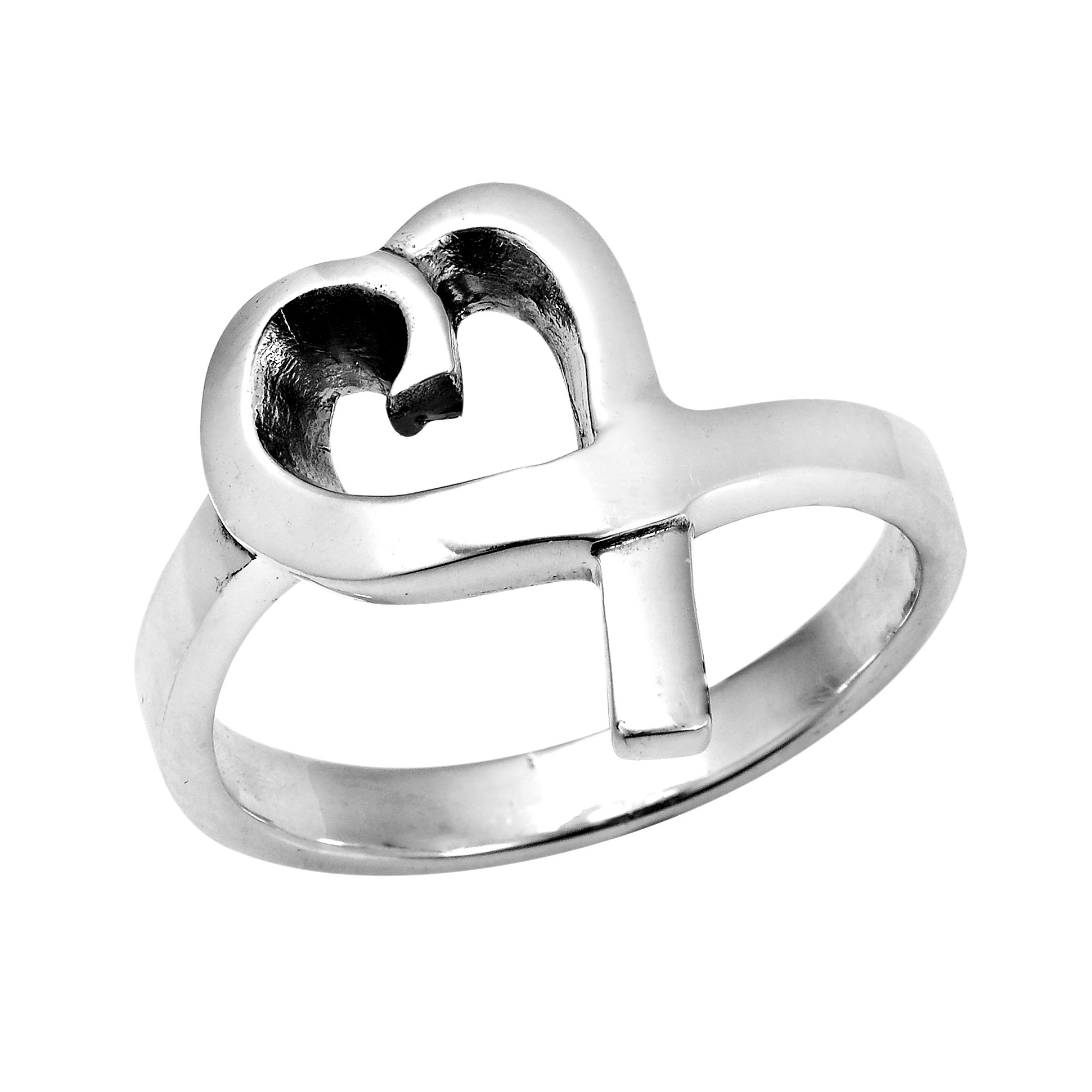 modern shiny ribbon loving sterling silver ring 6