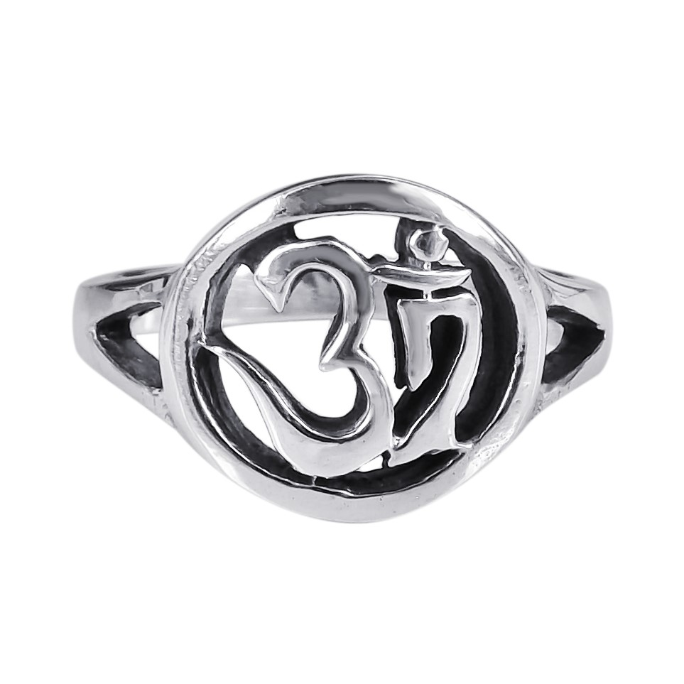 spiritual symbol aum or om prayer sterling silver ring 7