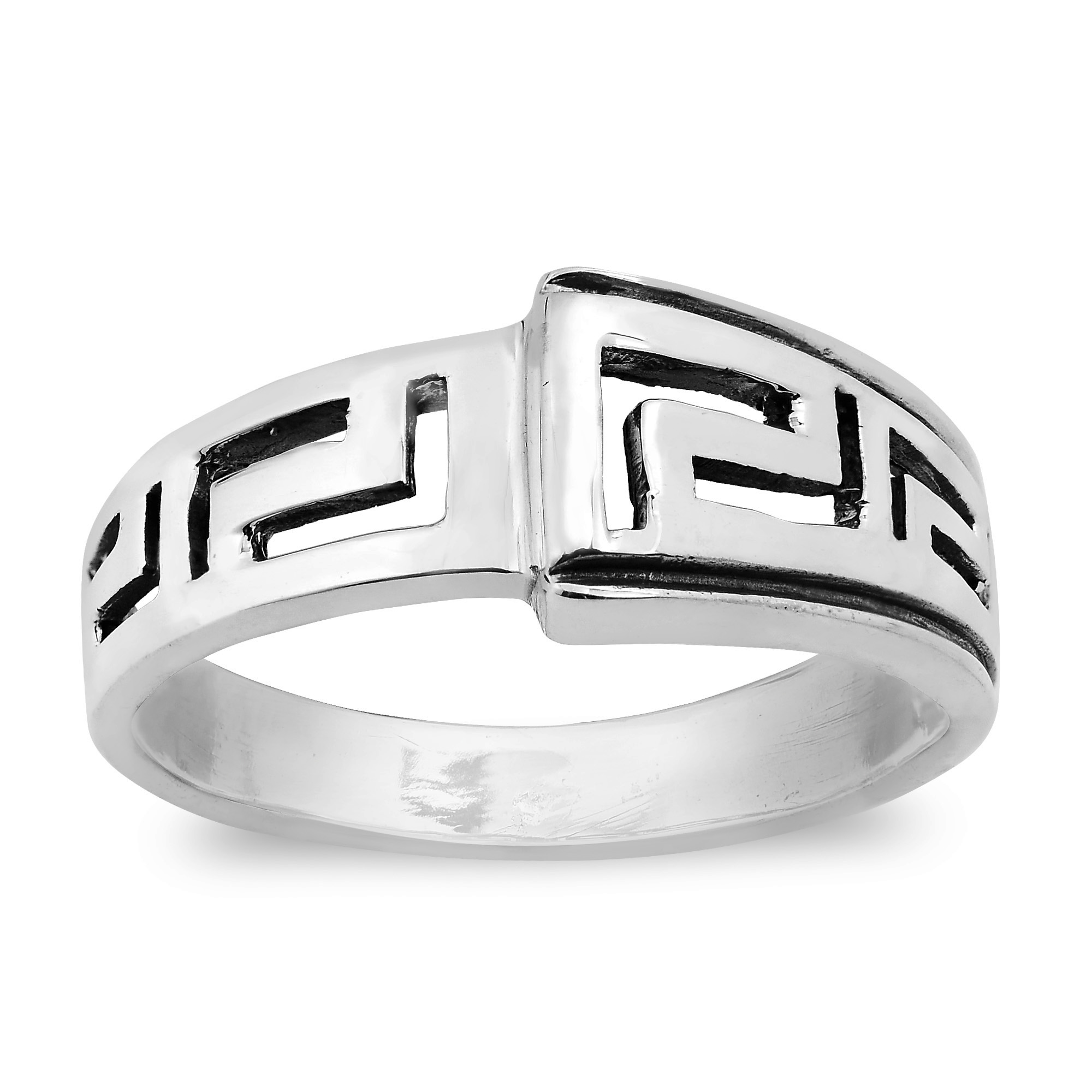 over etched product men jewelry steel greek orders ring overstock s free on white mens key laser rings engagement watches stainless band shipping
