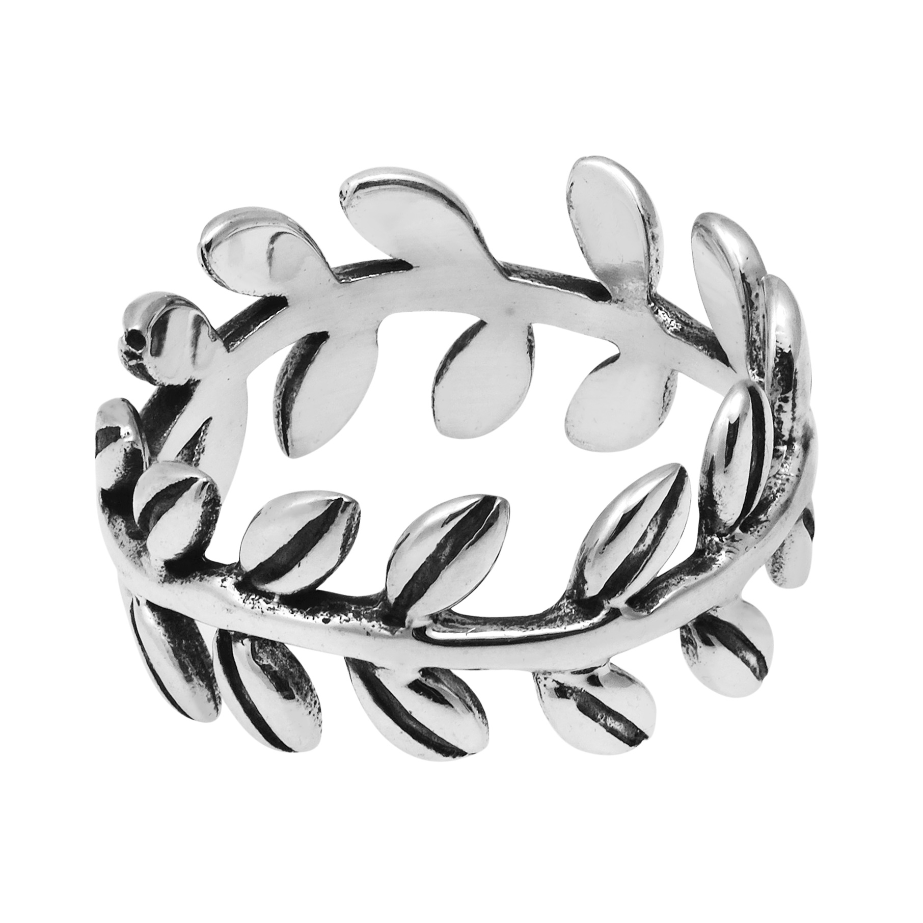 Symbolic greek nature ivy leaf wrap eternity band sterling silver thai artisan katsaya crafts this band ring by hand portraying silver ivy leaf forms enhanced with natural oxidized contrasts made from sterling silver 925 biocorpaavc Gallery
