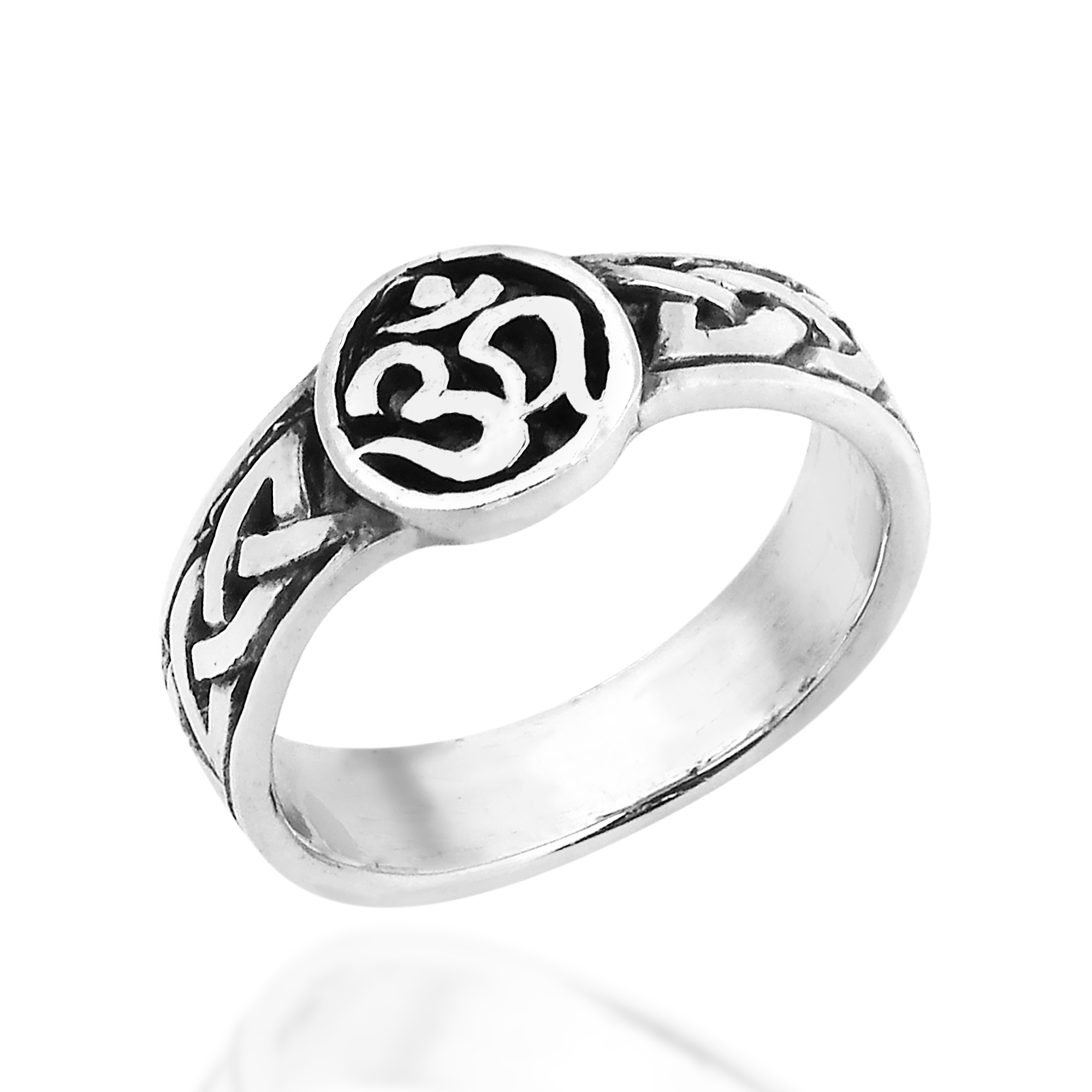 Universal Peace Symbol Aum Or Ohm 925 Sterling Silver Band Ring 55