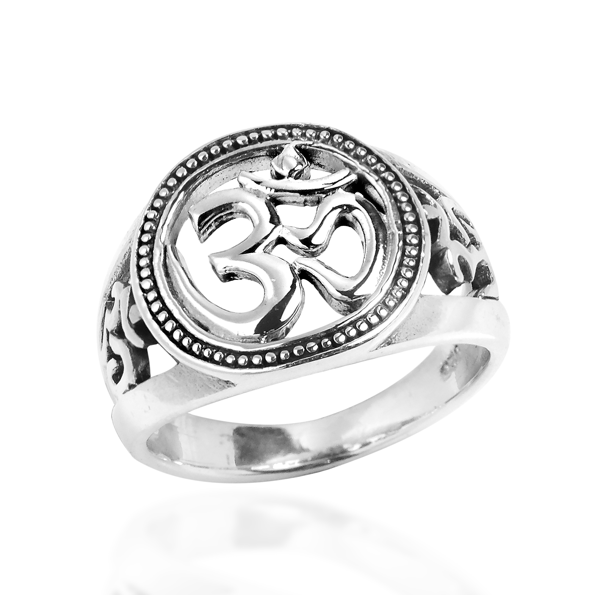 universal harmony symbol aum or ohm 925 sterling silver