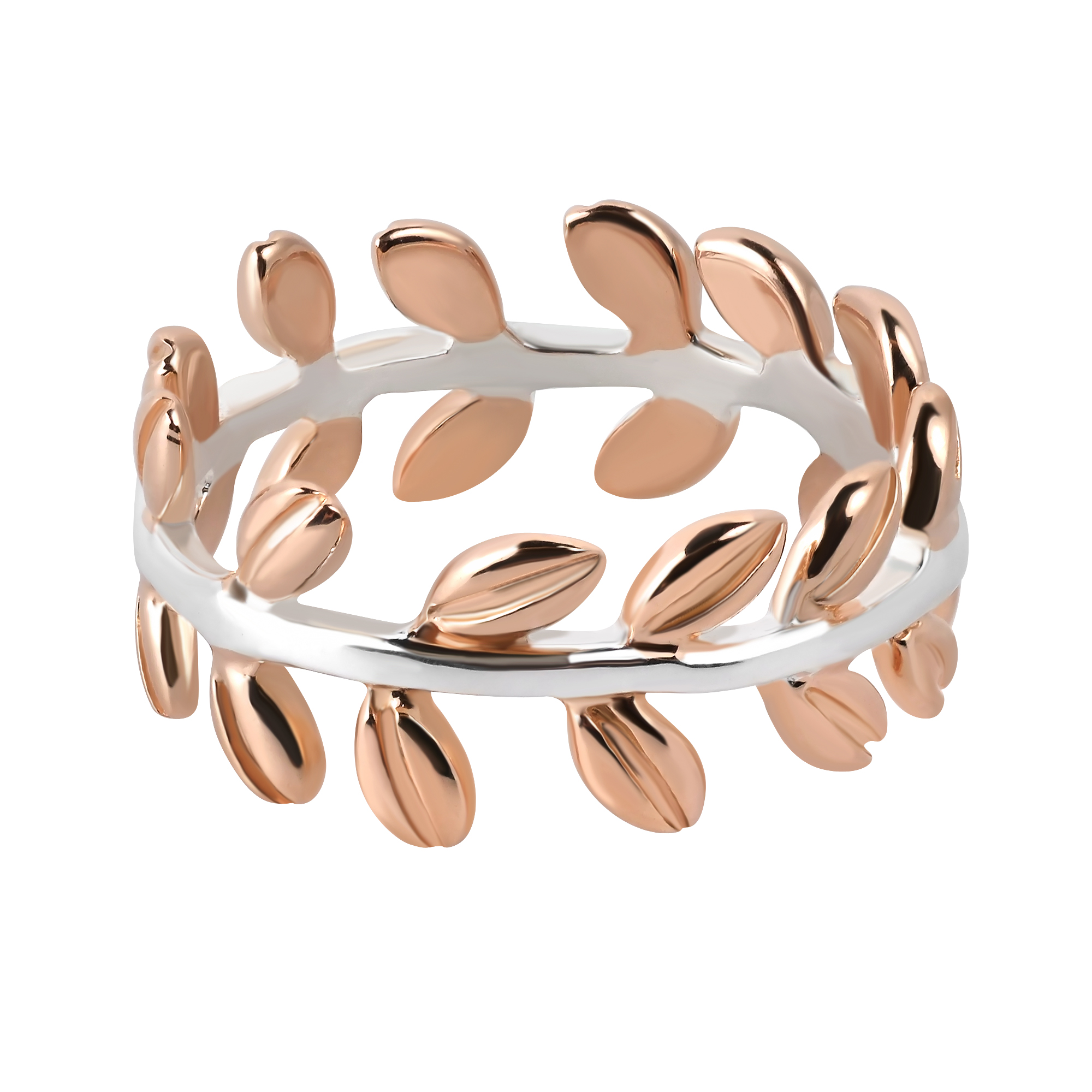 Serenity Two Tone Leaf Wrap Ivy Band Rose Gold over Sterling Silver