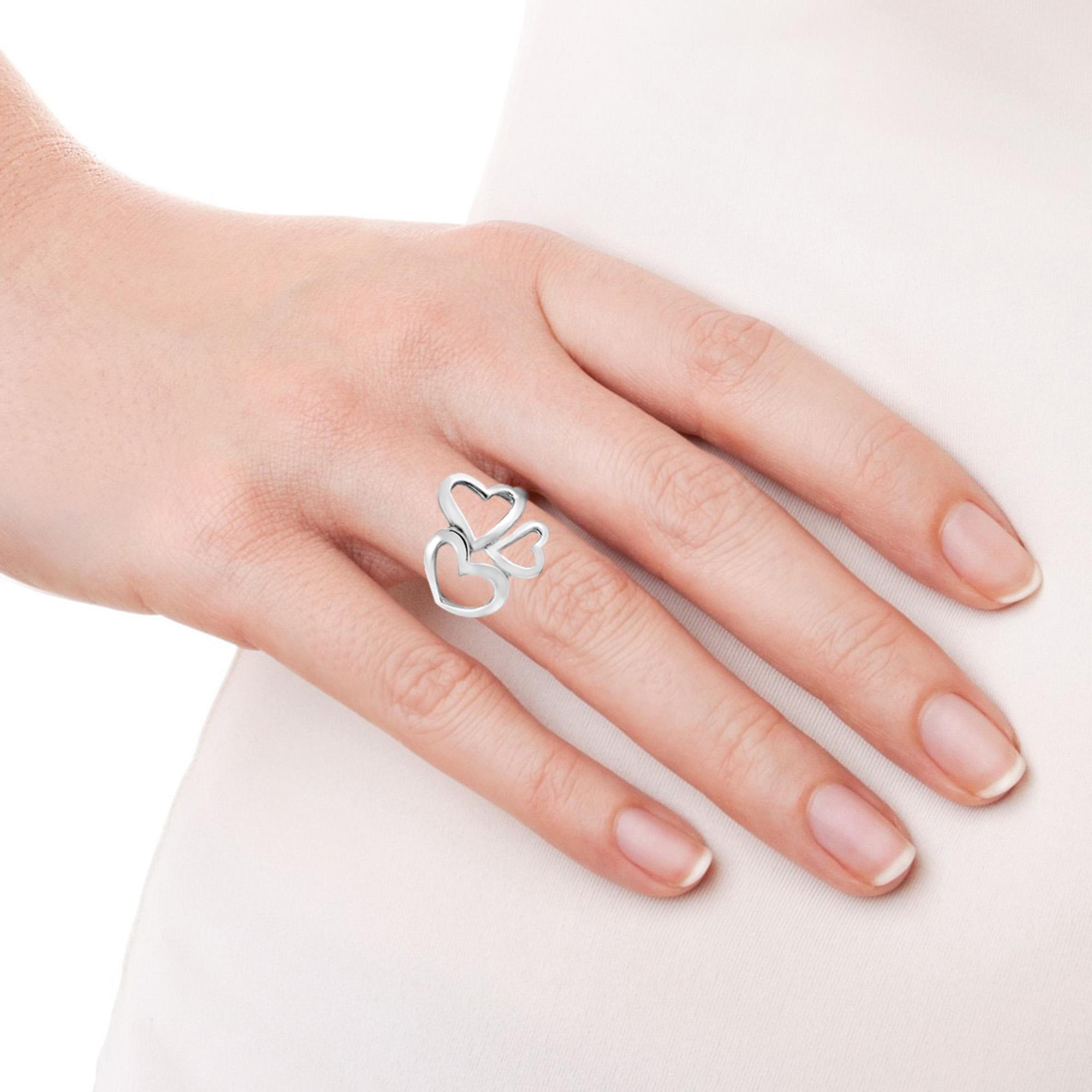 Cute Modern Triple Hearts of Love Sterling Silver Ring 6 - AeraVida