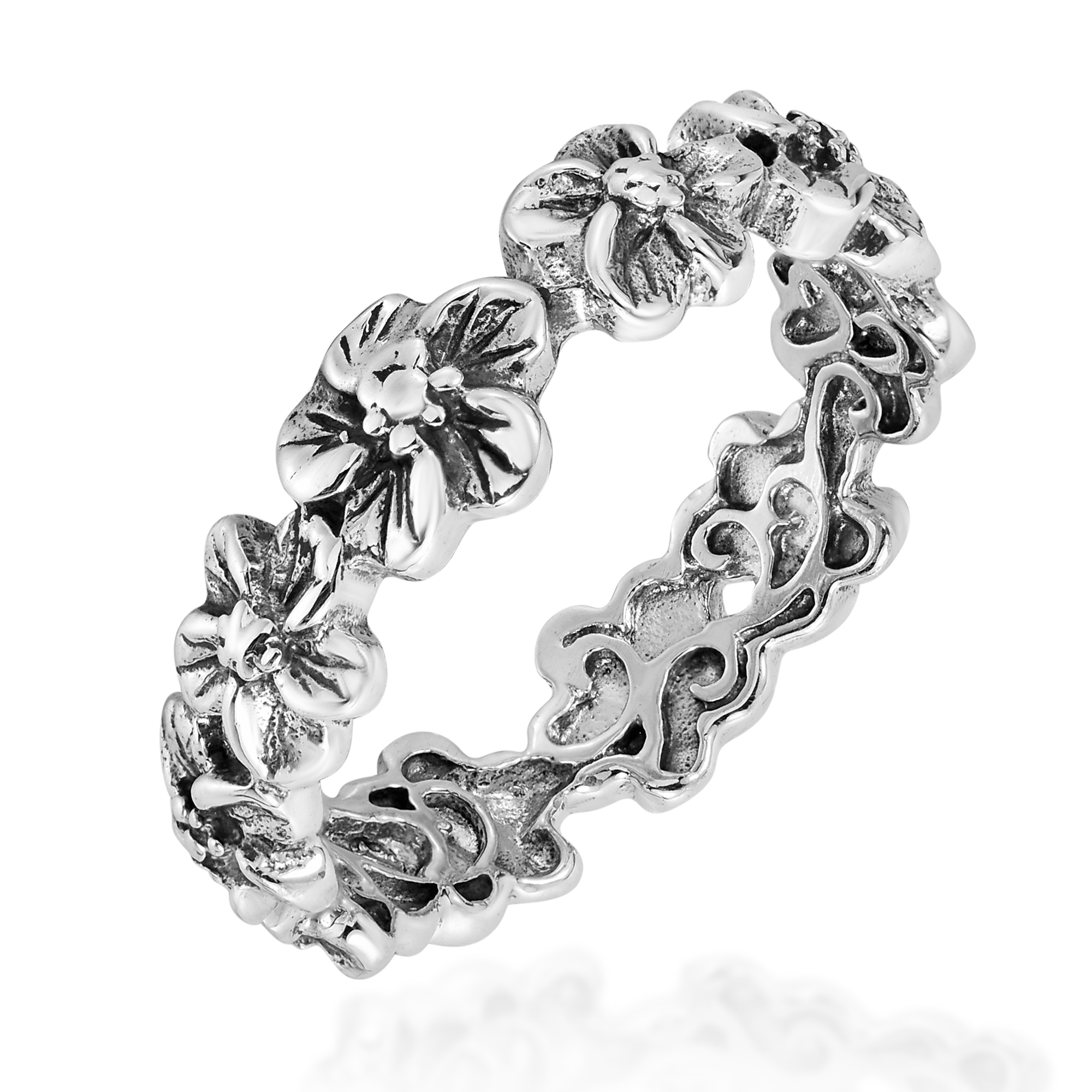 plumeria flowers eternity band 925 silver ring 6 aeravida