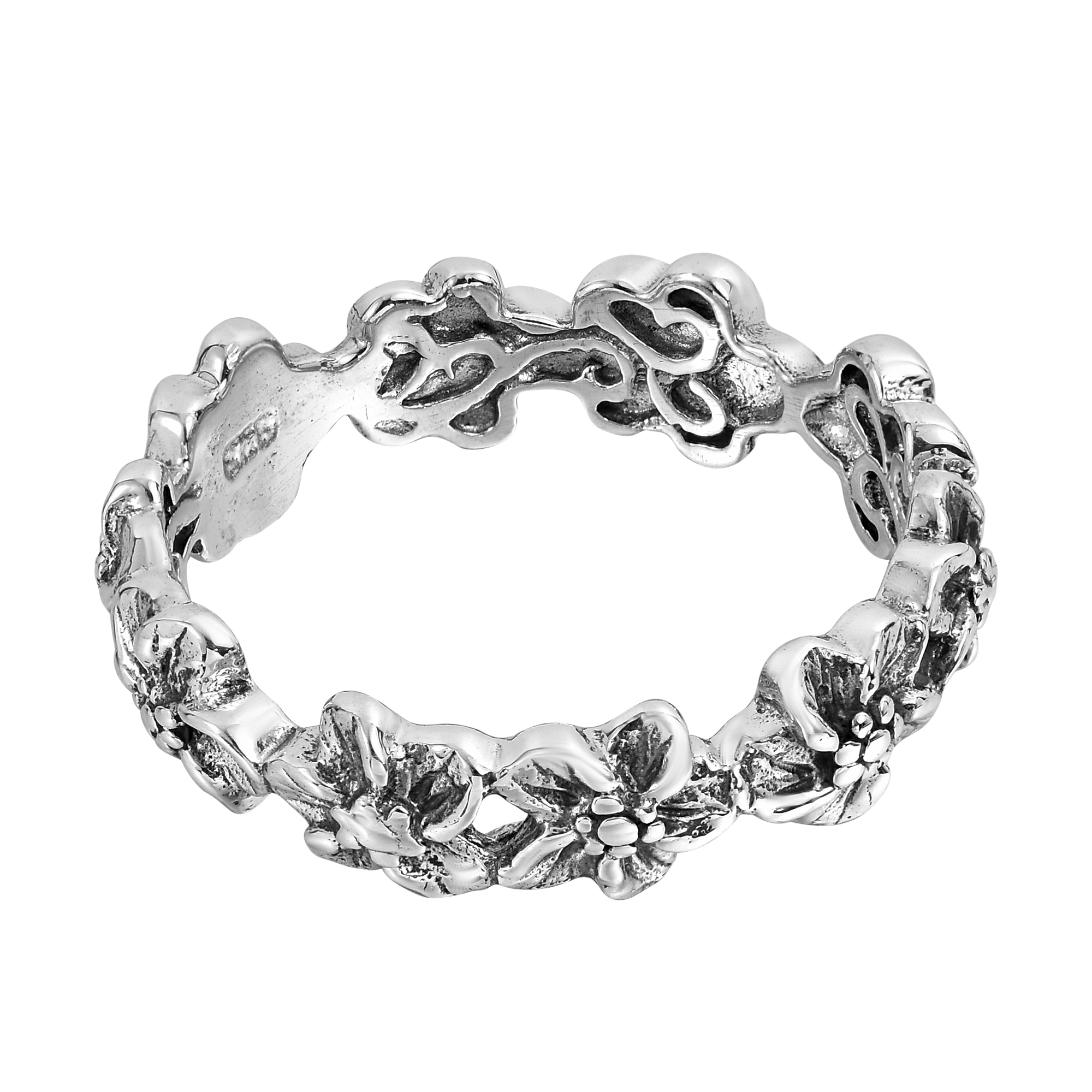 Plumeria flowers eternity band 925 silver ring 6 aeravida inspire by hawaiian flowers this ring features a plumeria design crafted with sterling silver this ring is a sweet addition to your style izmirmasajfo