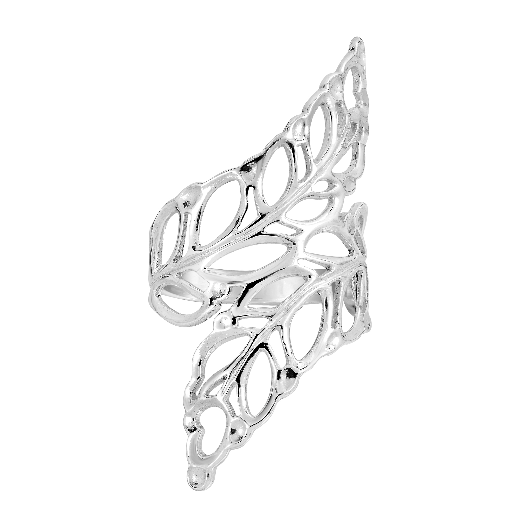 beautiful cut out leaf leaves wrap 925 silver ring 6 aeravida Ring Leaf Setting beautiful cut out leaves wrap sterling silver ring