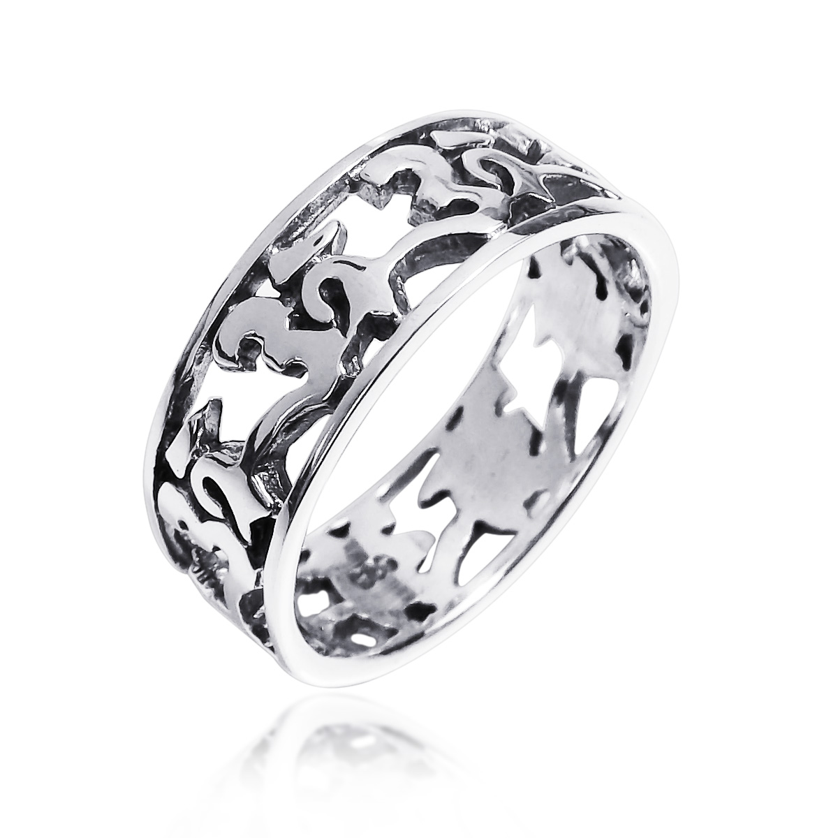 Peaceful eternity aum or ohm symbol 925 silver band ring 6 aeravida product biocorpaavc