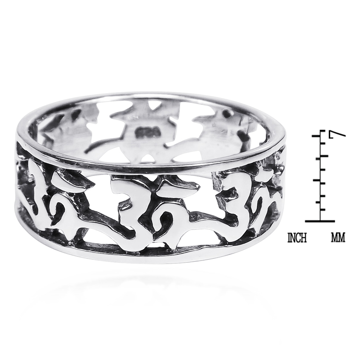 Peaceful eternity aum or ohm symbol 925 silver band ring 6 aeravida set in sterling silver the symbol ohm or aum links together in mystical essence to form the band of this ring the symbol represents brahman biocorpaavc