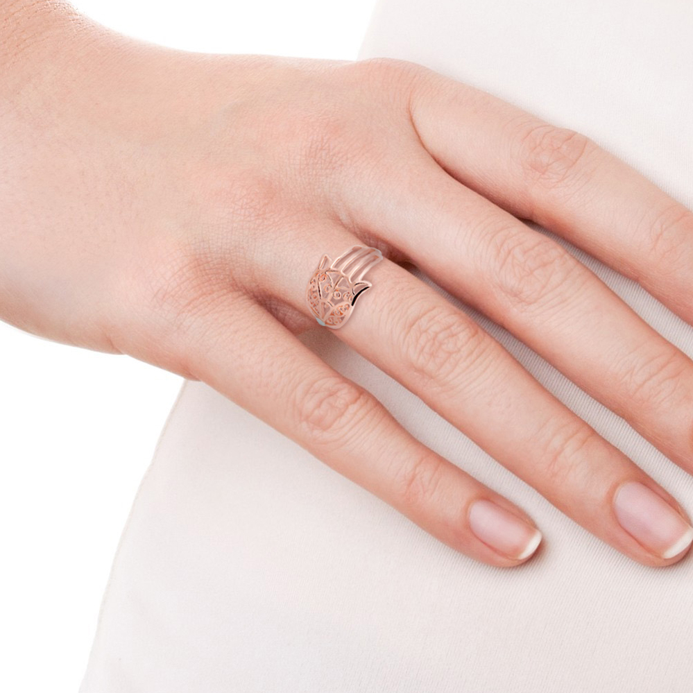 Hamsa Hand Of Protection Rose Gold Vermeil over Sterling Silver Ring ...