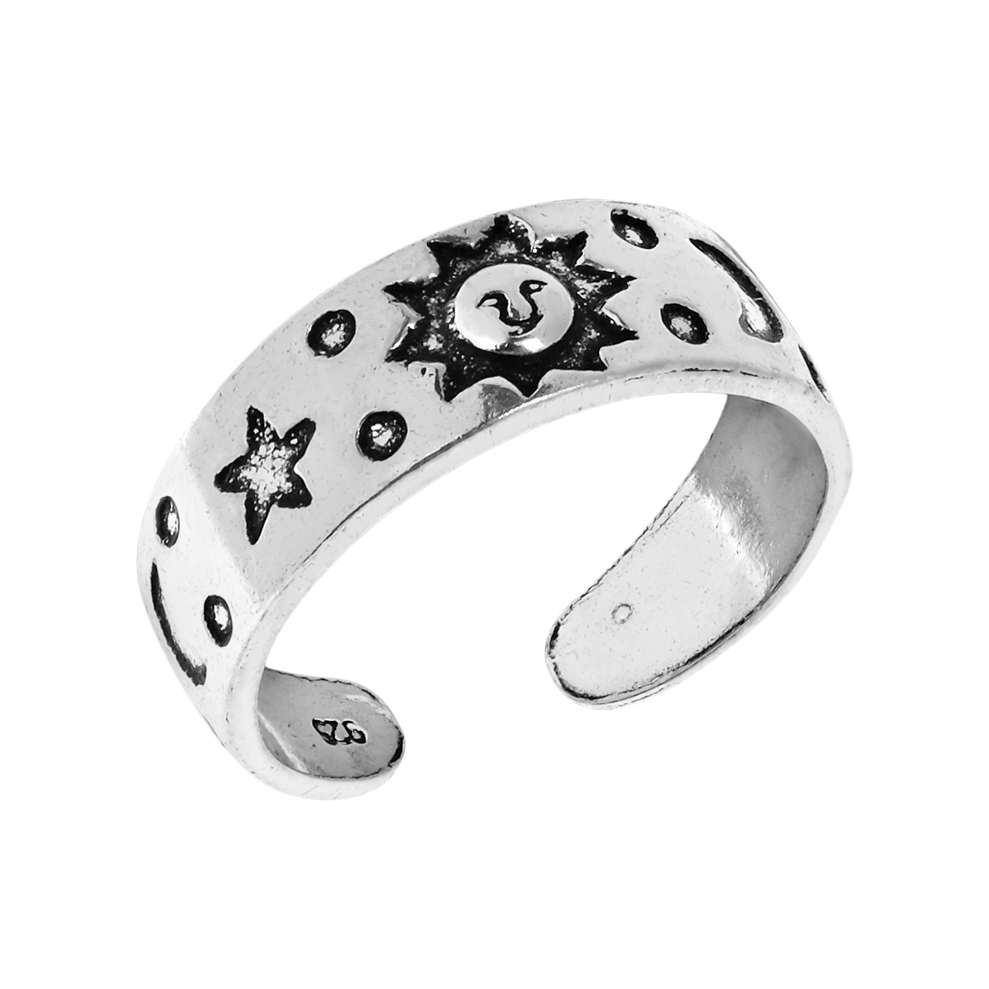 Celestial Bands: Celestial Sky Sun Moon And Star Sterling Silver Toe Or